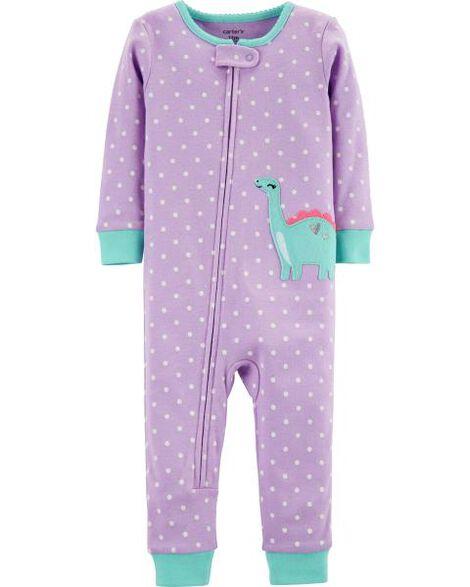 1-Piece Dinosaur Snug-Fit Cotton Footless PJs