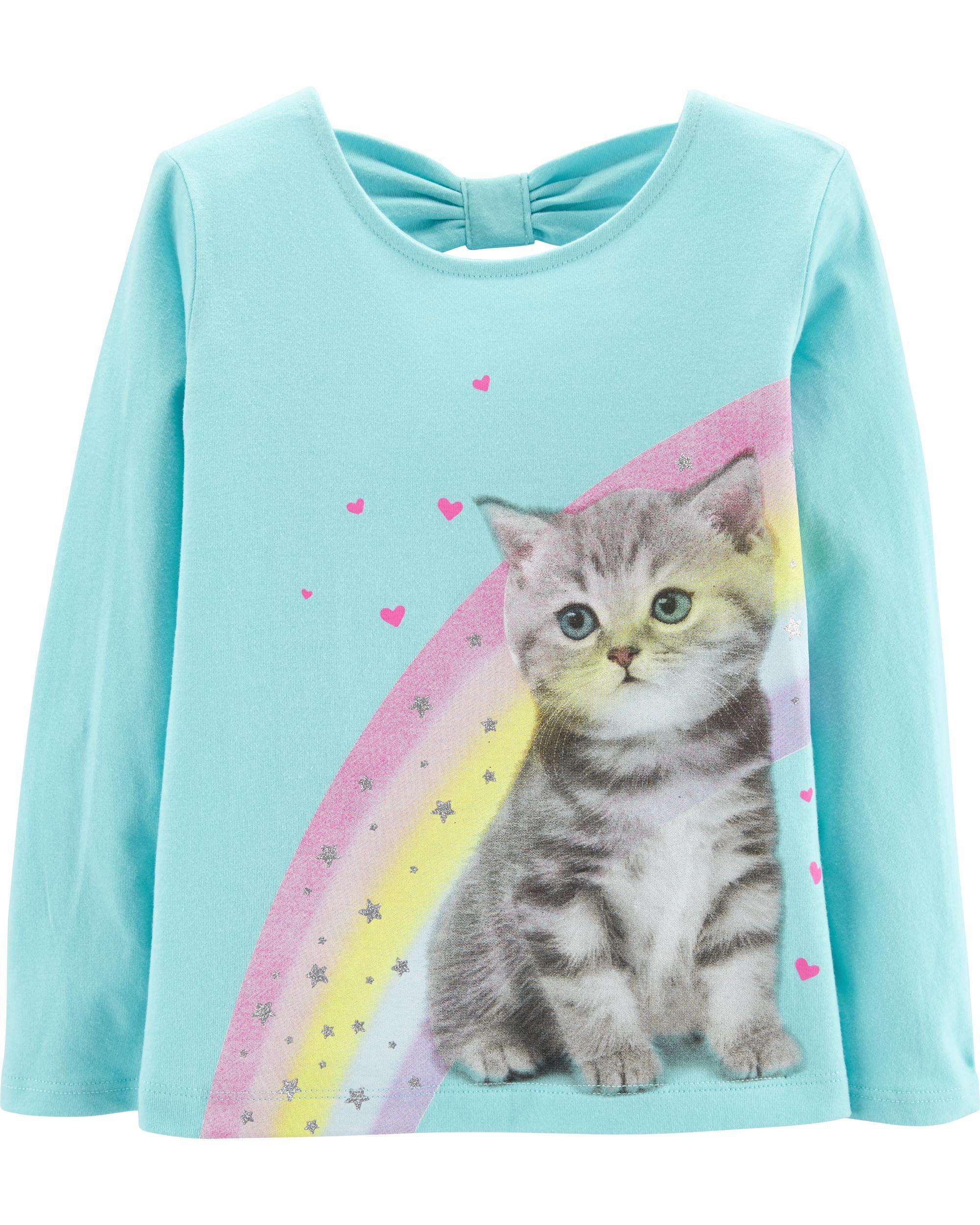 *Clearance*  Rainbow Cat Bow Tee