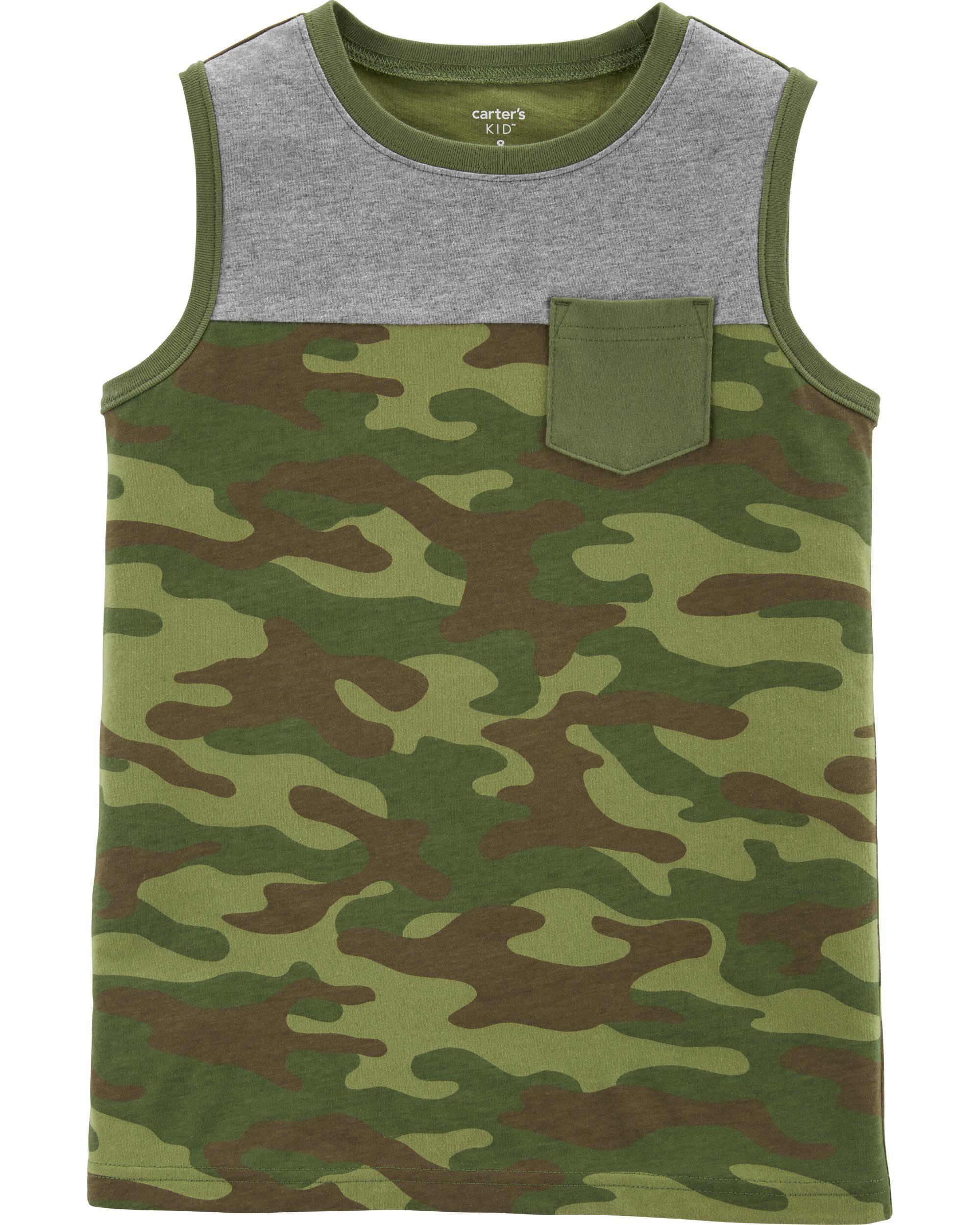 *Clearance*  Camo Pocket Jersey Tank