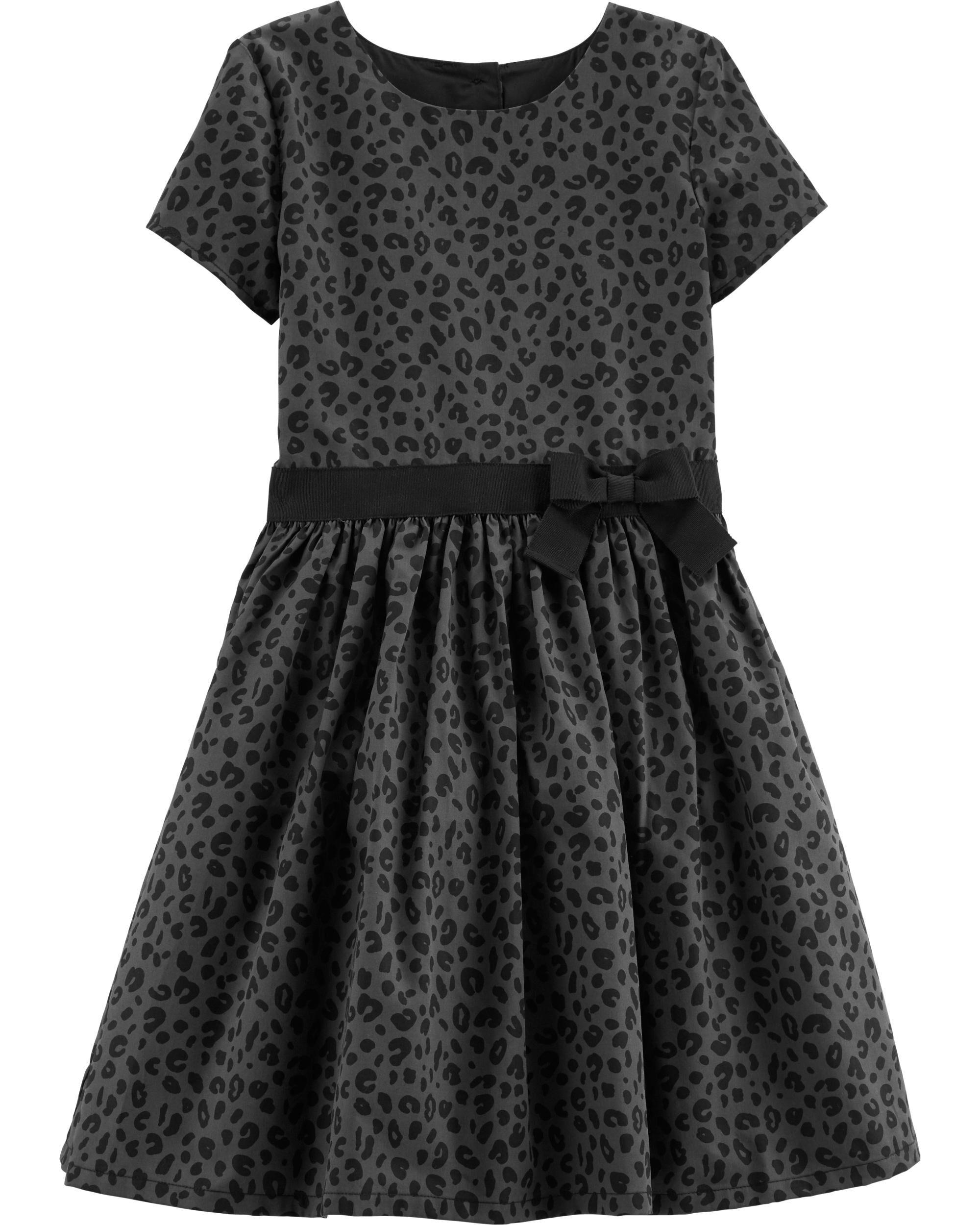 *Clearance*  Leopard Sateen Holiday Dress