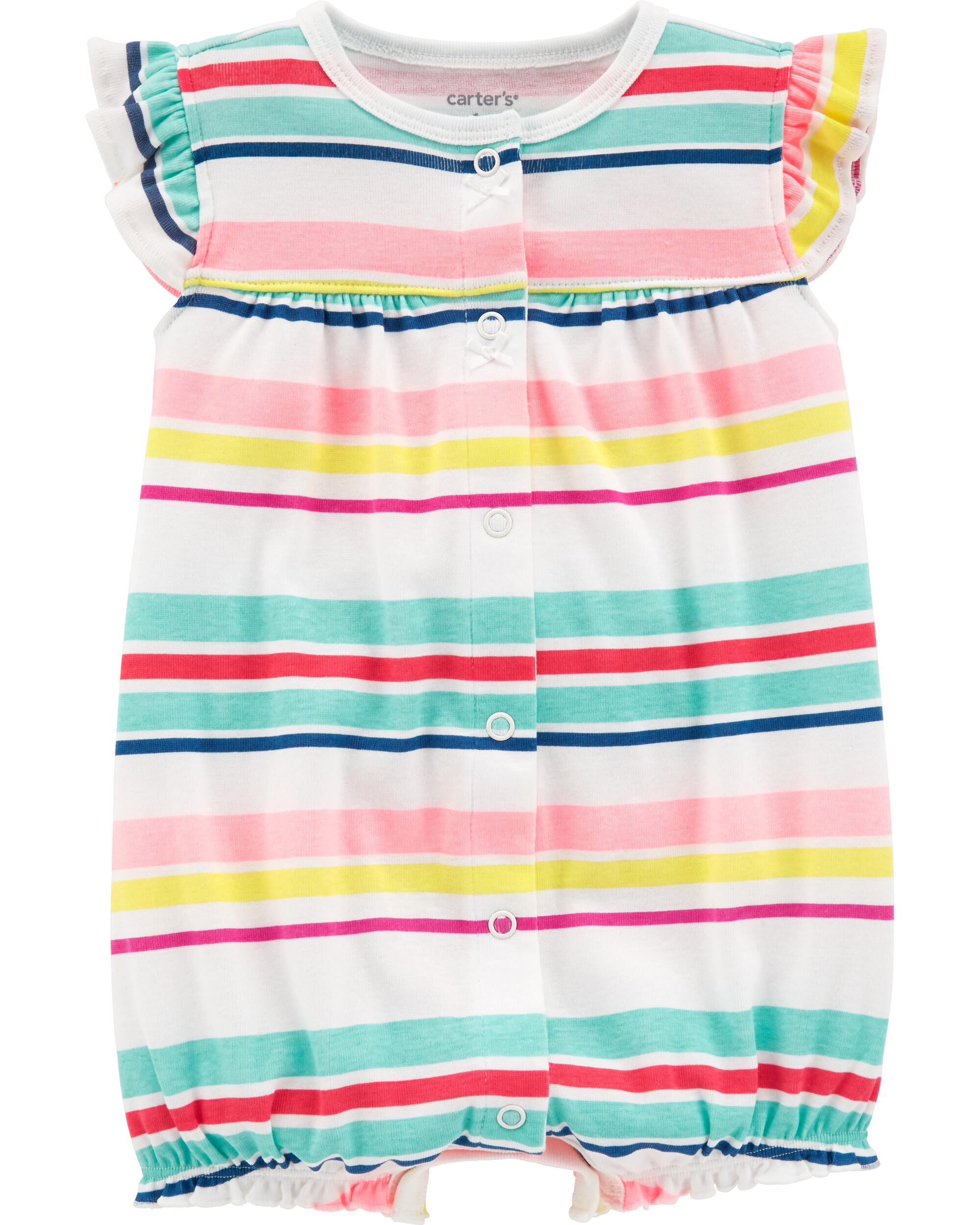 *Clearance*  Striped Heart Snap-Up Romper
