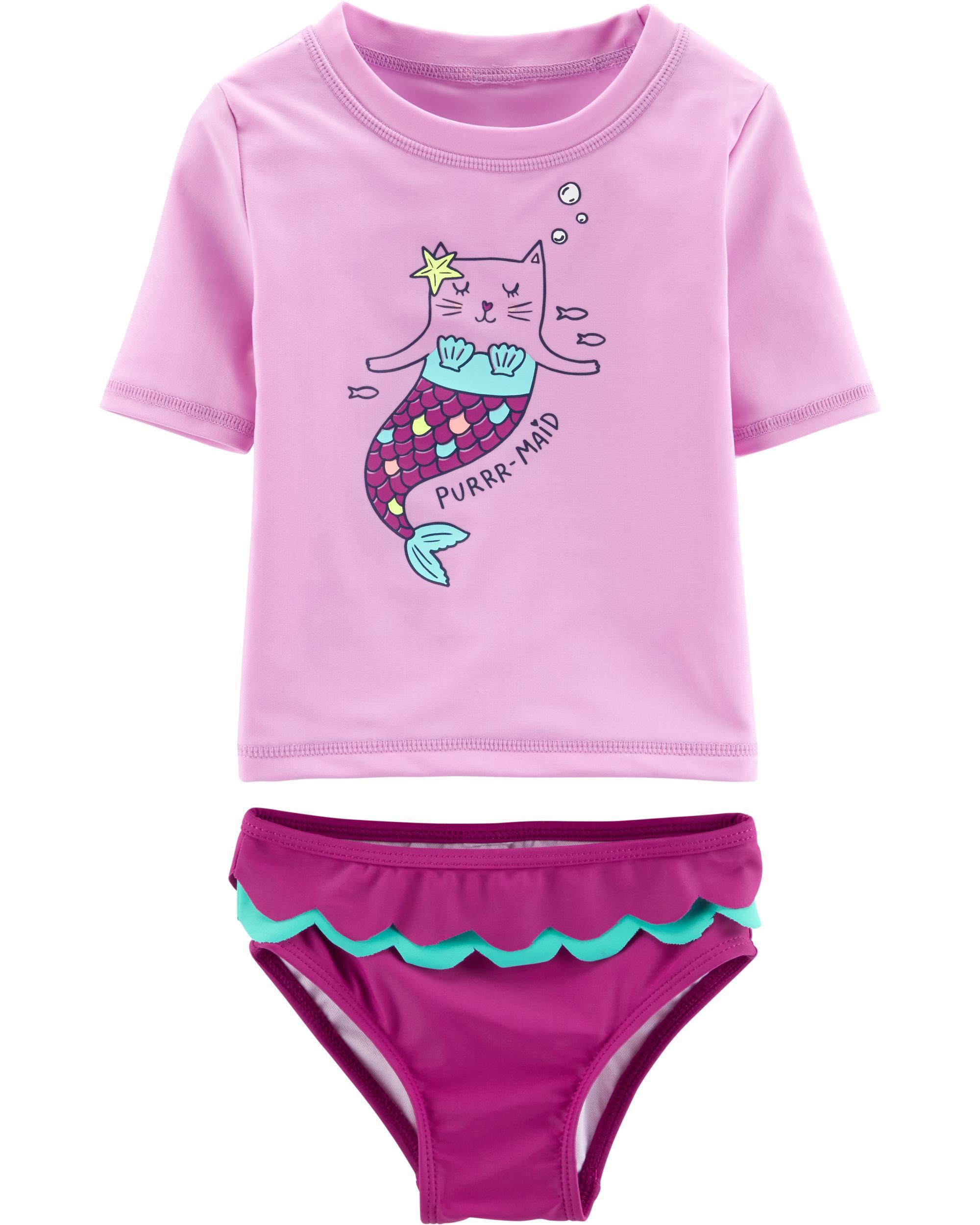*Clearance*  Carter's Cat Mermaid 2-Piece Rashgu...