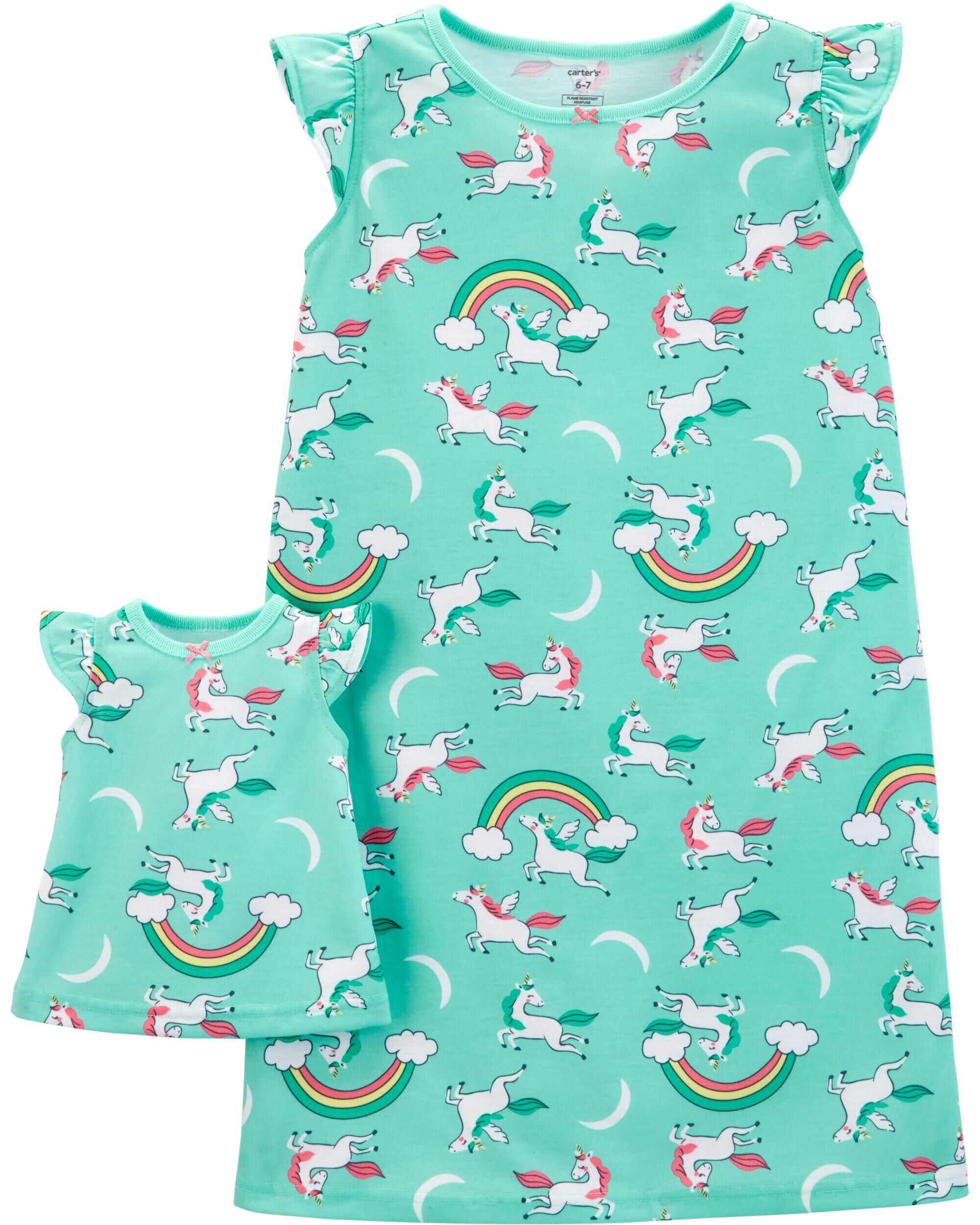 *Clearance*  2-Pack Doll Unicorn Poly Nightgowns