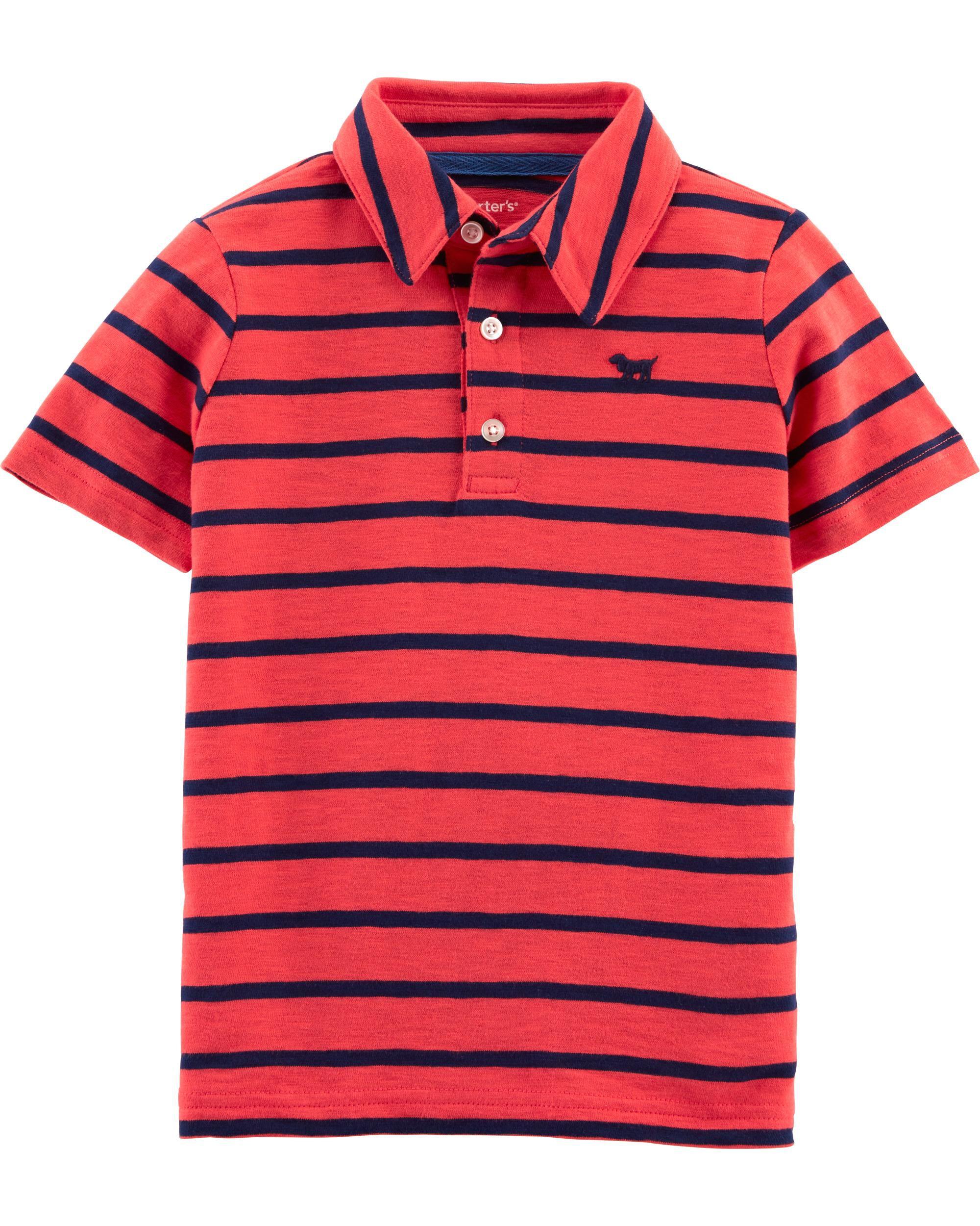 *Clearance*  Striped Dog Slub Jersey Polo