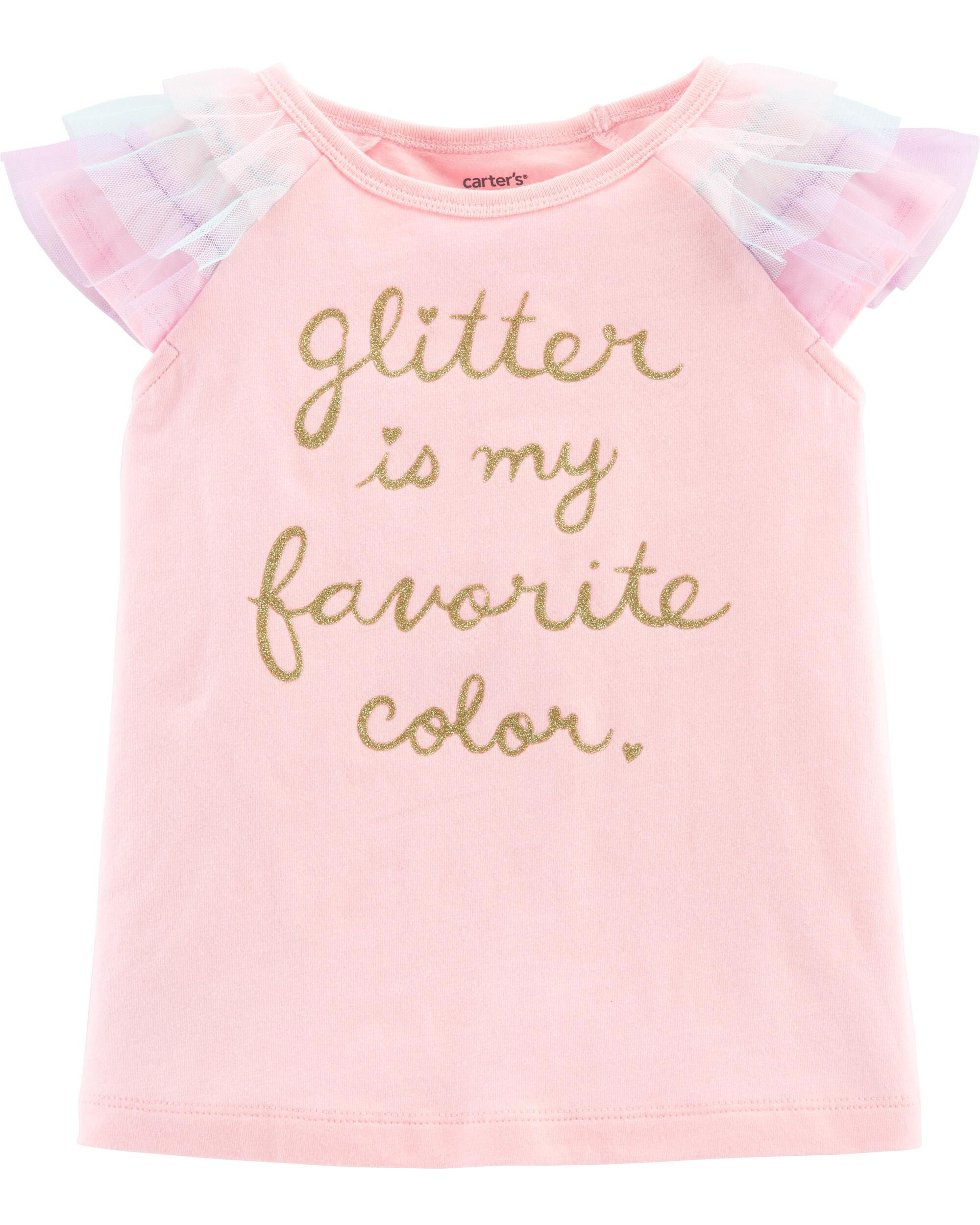 *Clearance*  Glitter Tulle-Sleeve Top