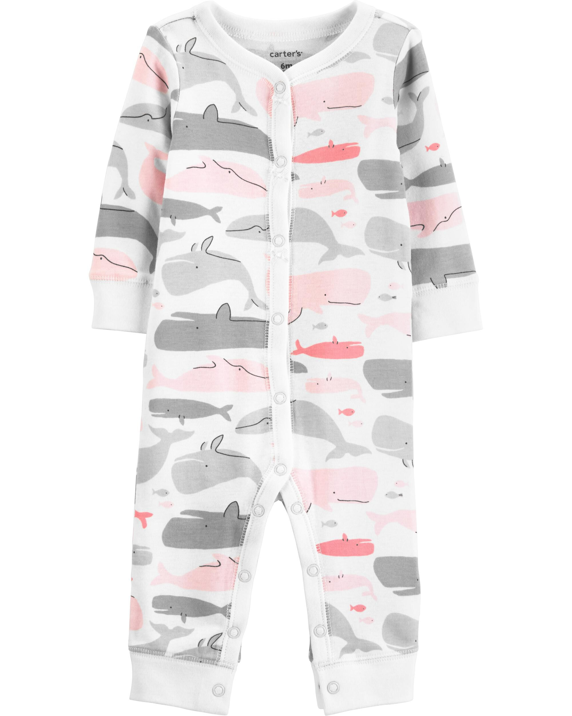 *Clearance*  Whale Snap-Up Cotton Footless Sleep...