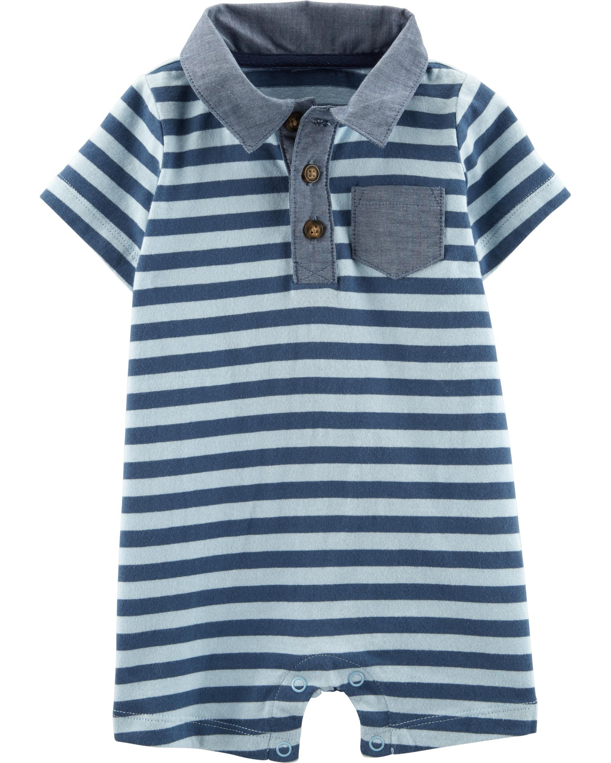 *Clearance*  Striped Polo Romper
