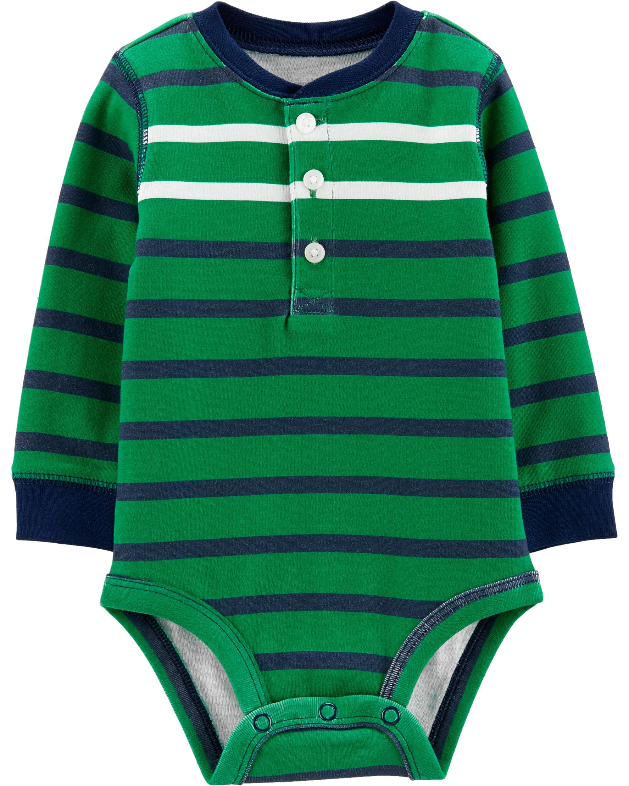 *Clearance*  Striped Henley Bodysuit