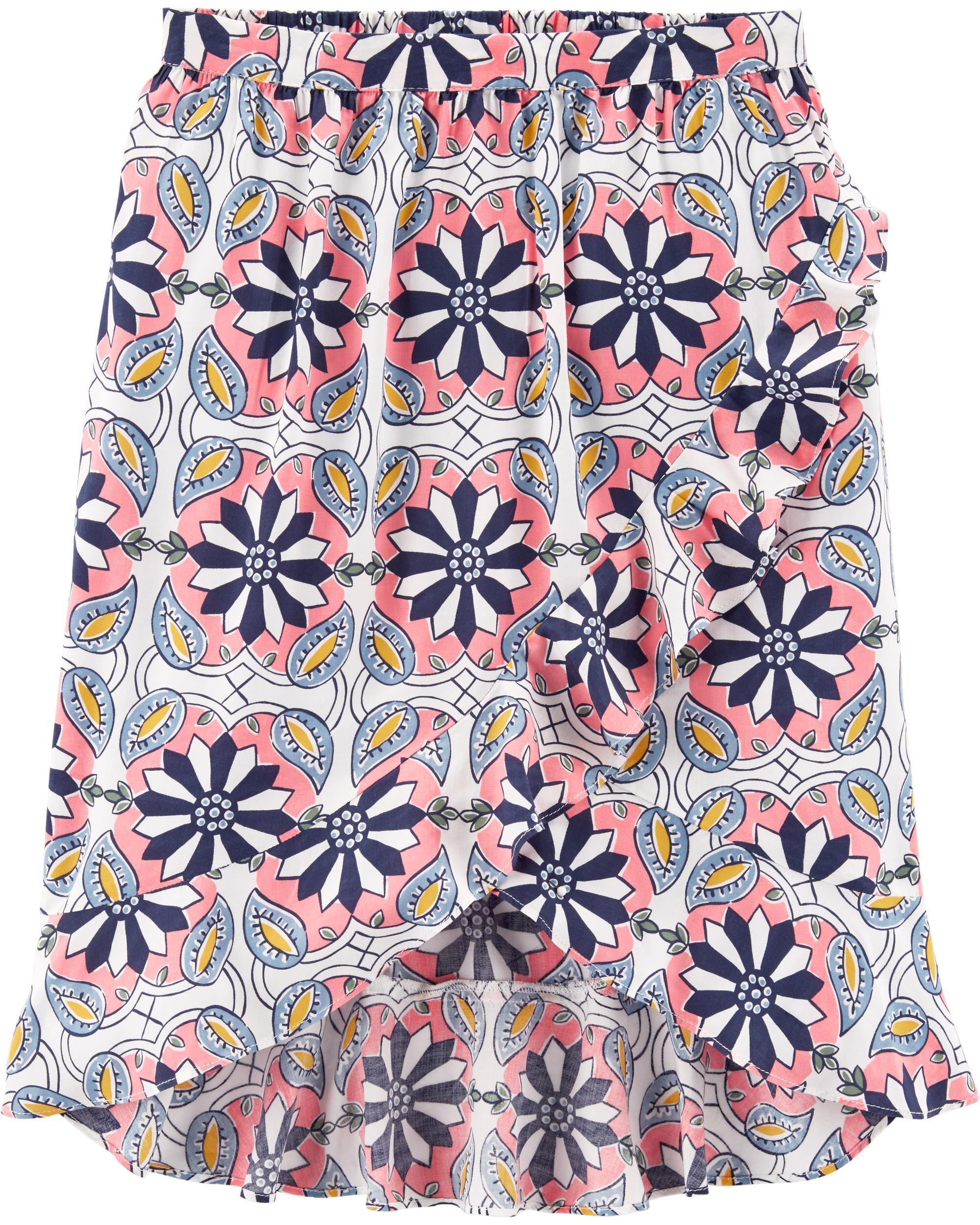 *Clearance*  Floral Ruffle Wrap Midi Skirt