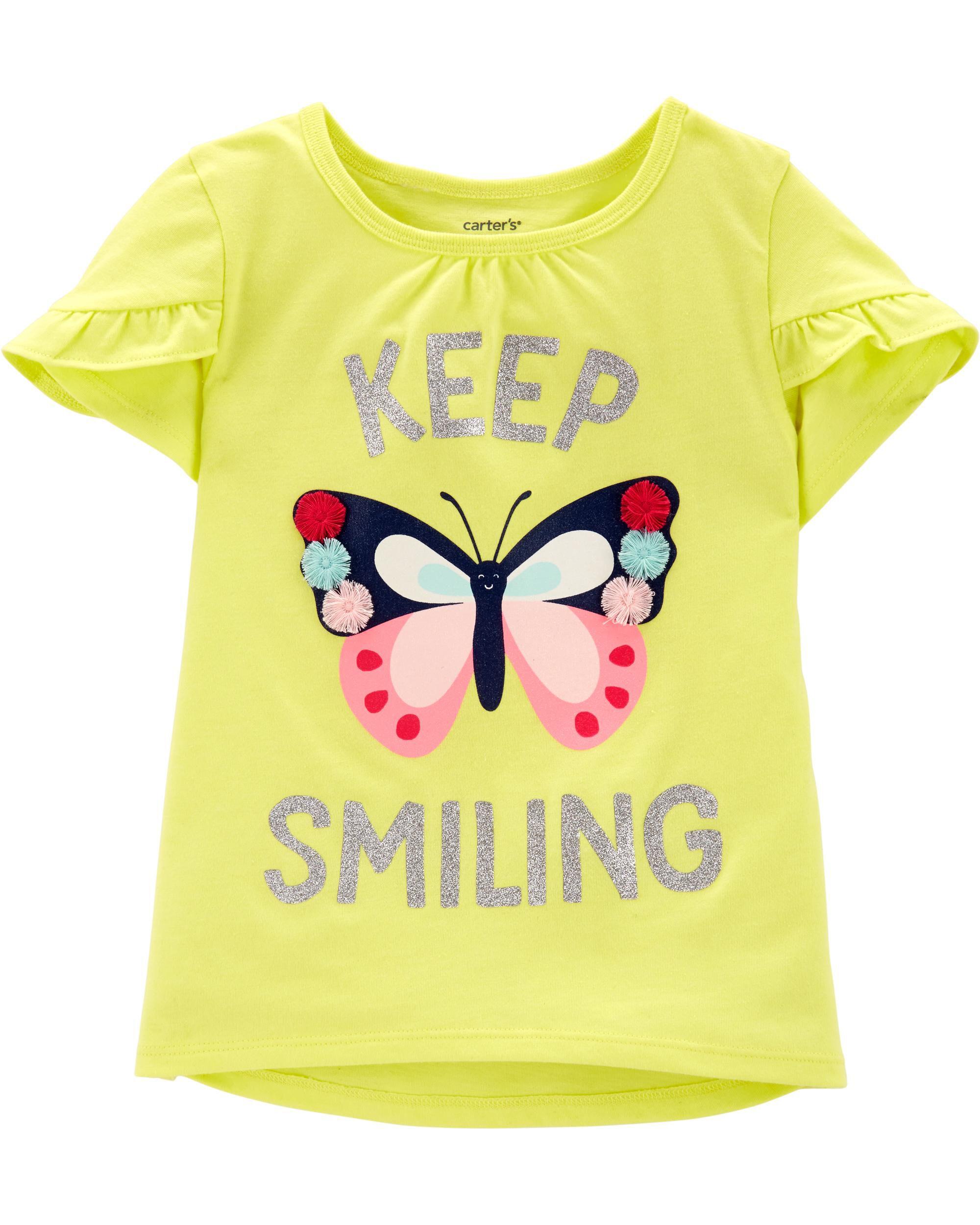 *Clearance*  Glitter Butterfly Tulip-Sleeve Hi-L...