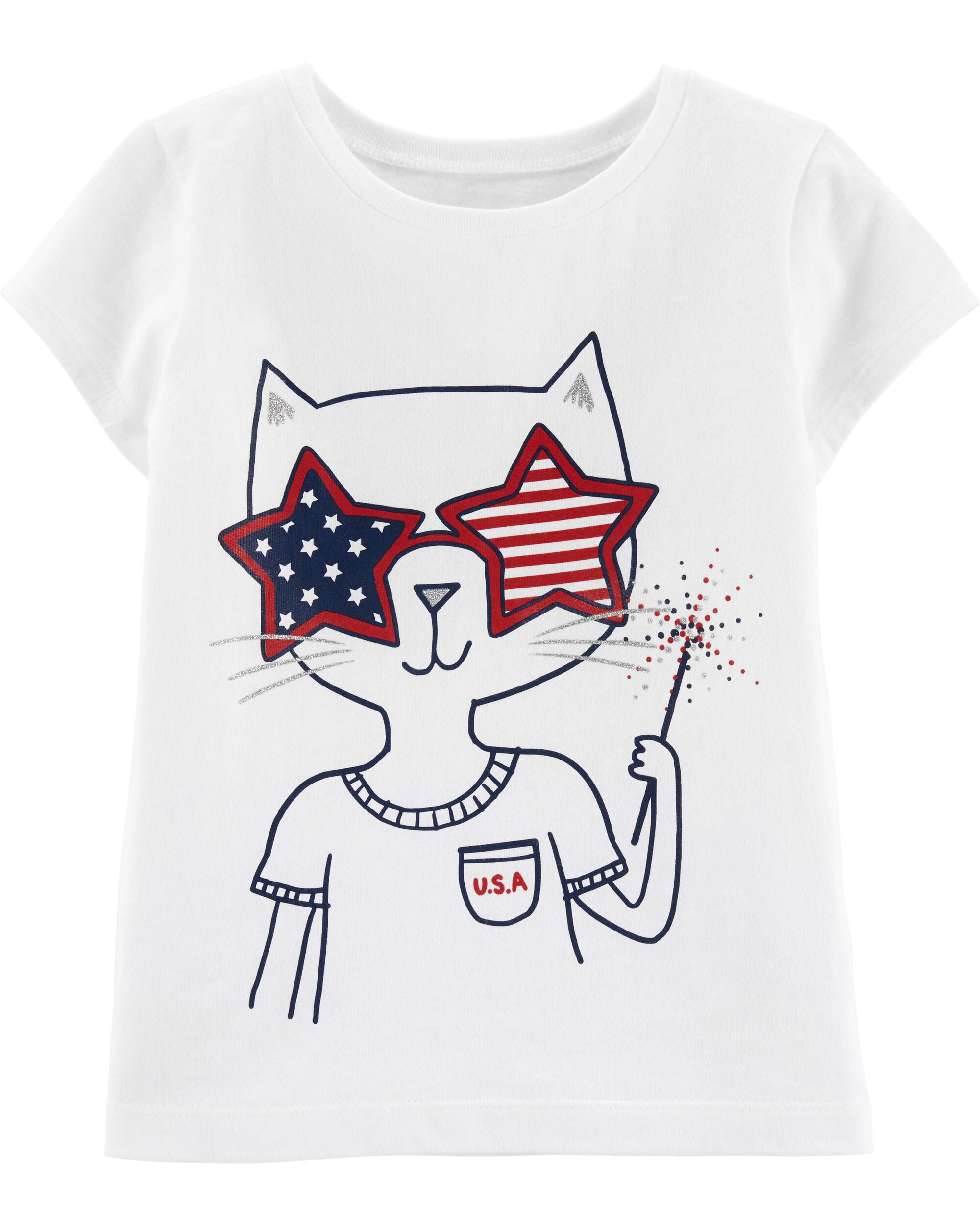*Clearance*  4th Of July Kitty Jersey Tee