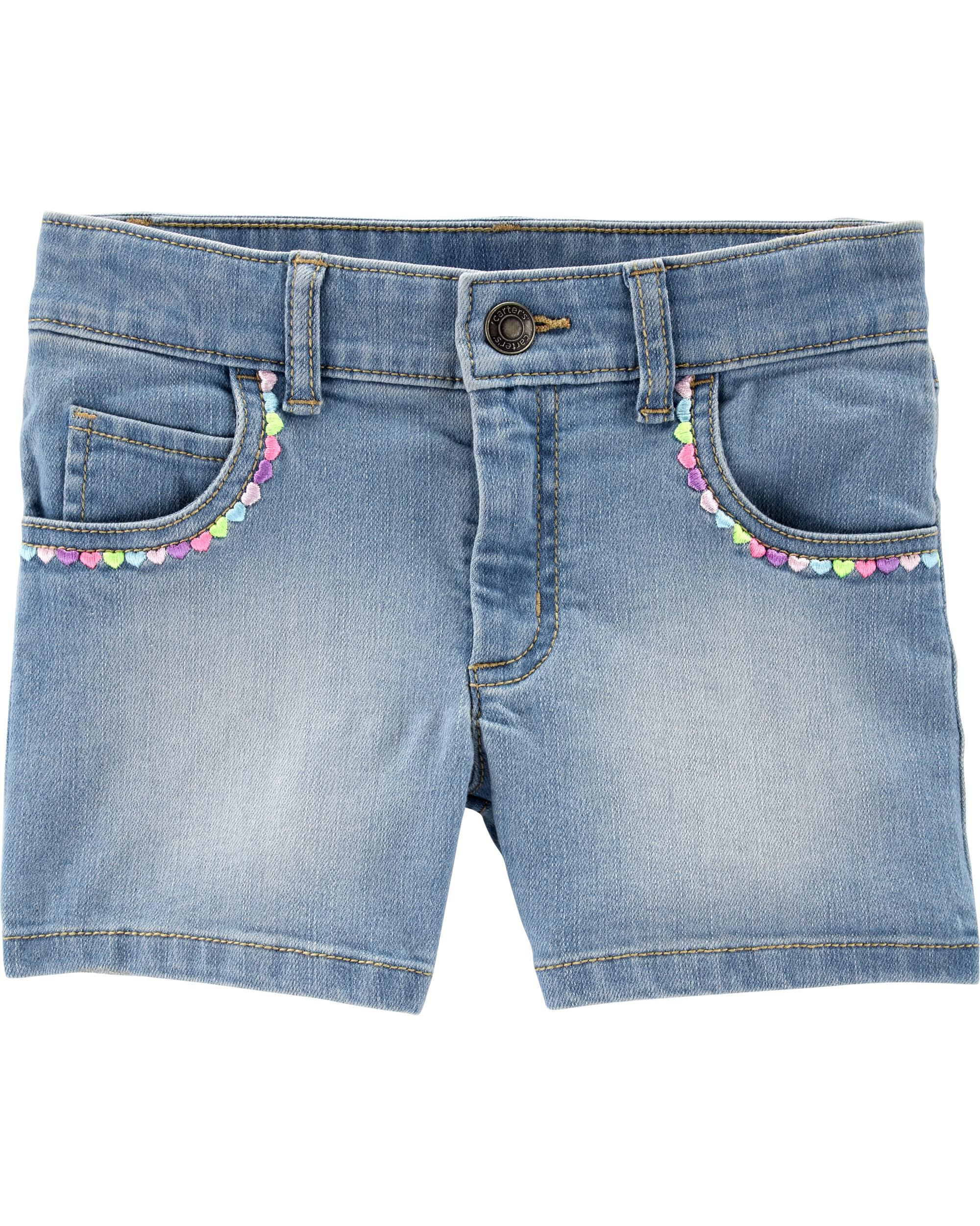 *Clearance*  Embroidered Heart 5-Pocket Denim Sh...