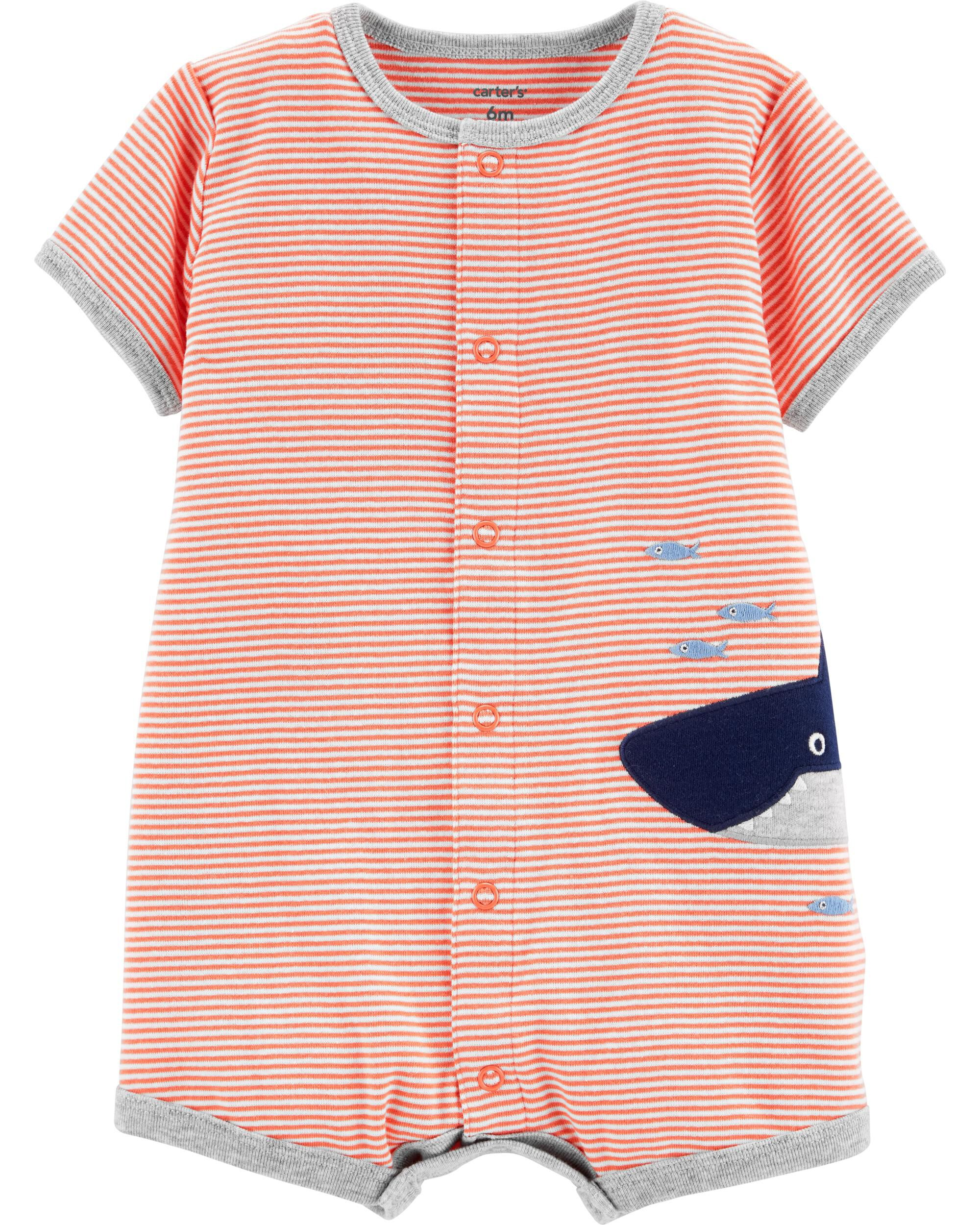 *Clearance*  Striped Shark Snap-Up Romper