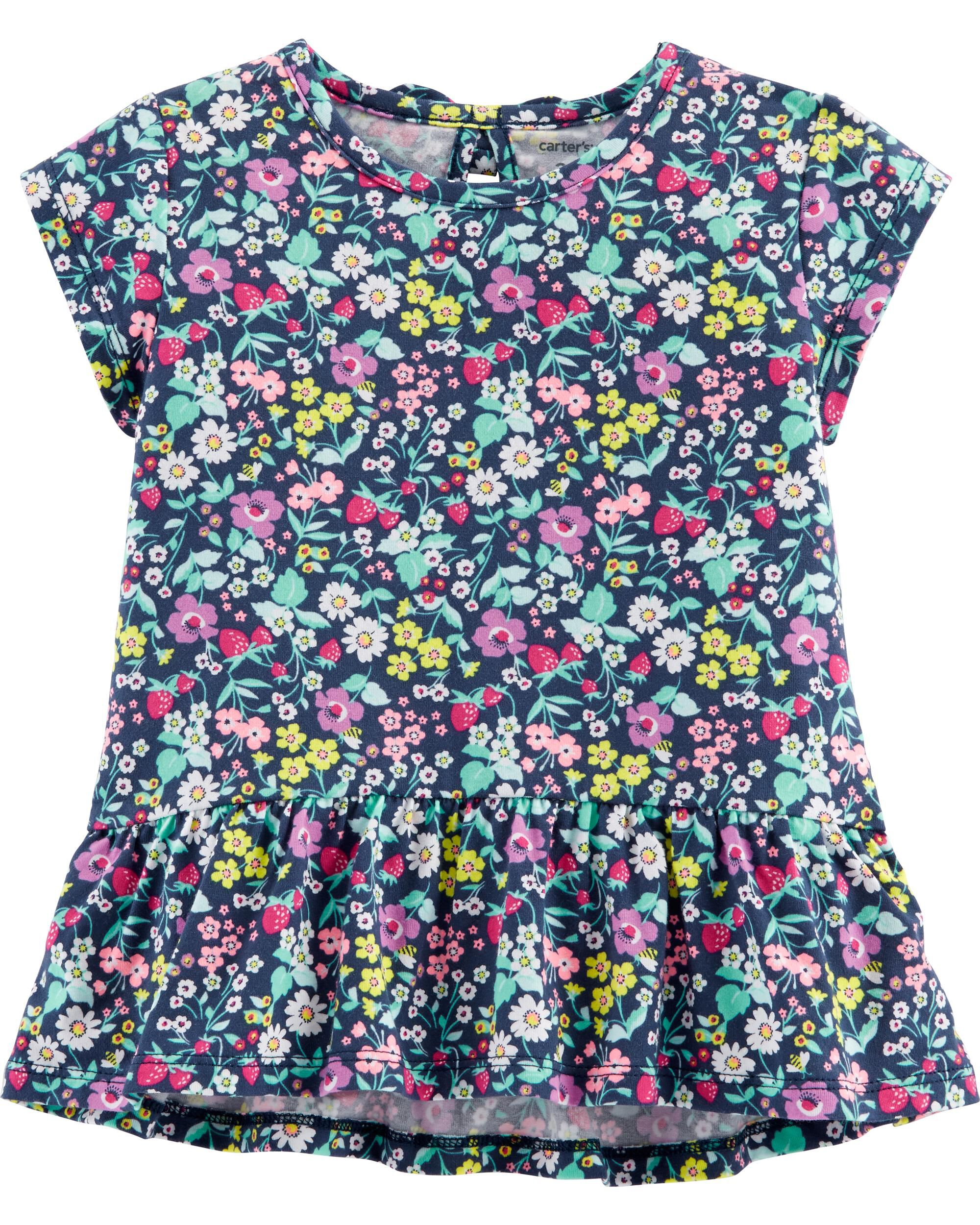 *Clearance*  Floral Heart Cut Out Peplum  Top