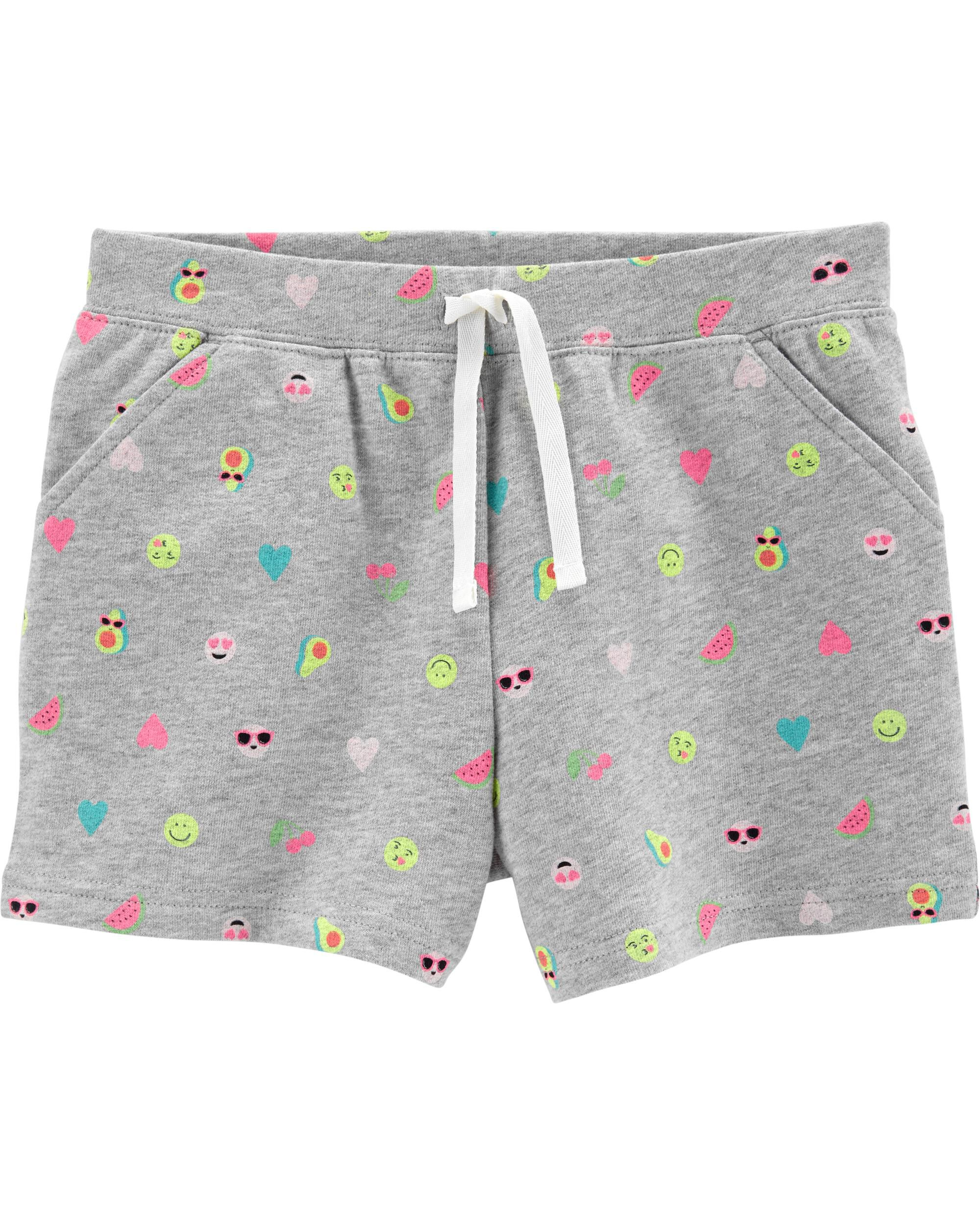 *Clearance*  Emoji Pull-On French Terry Shorts