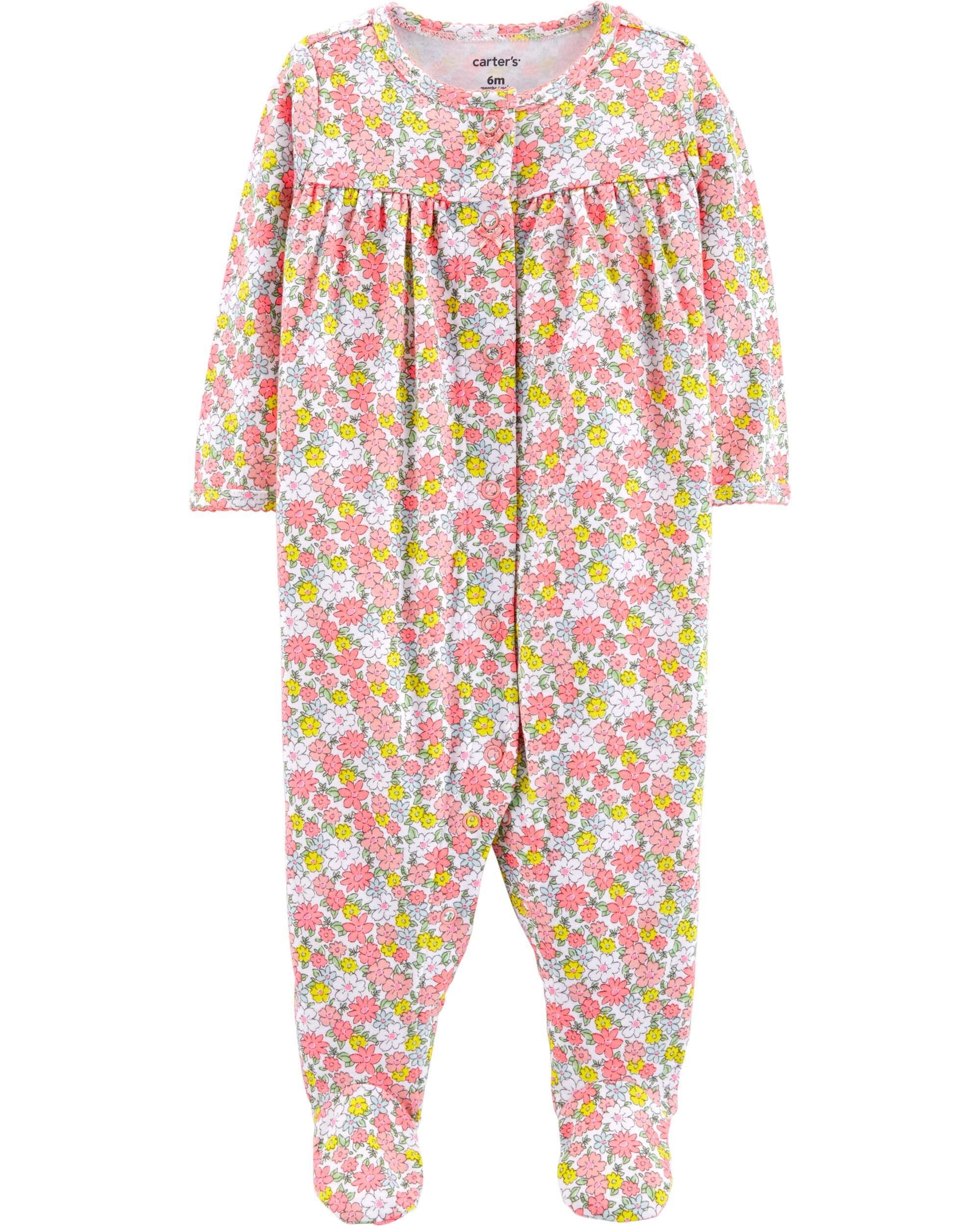 *Clearance*  Floral Snap-Up Cotton Sleep & Play