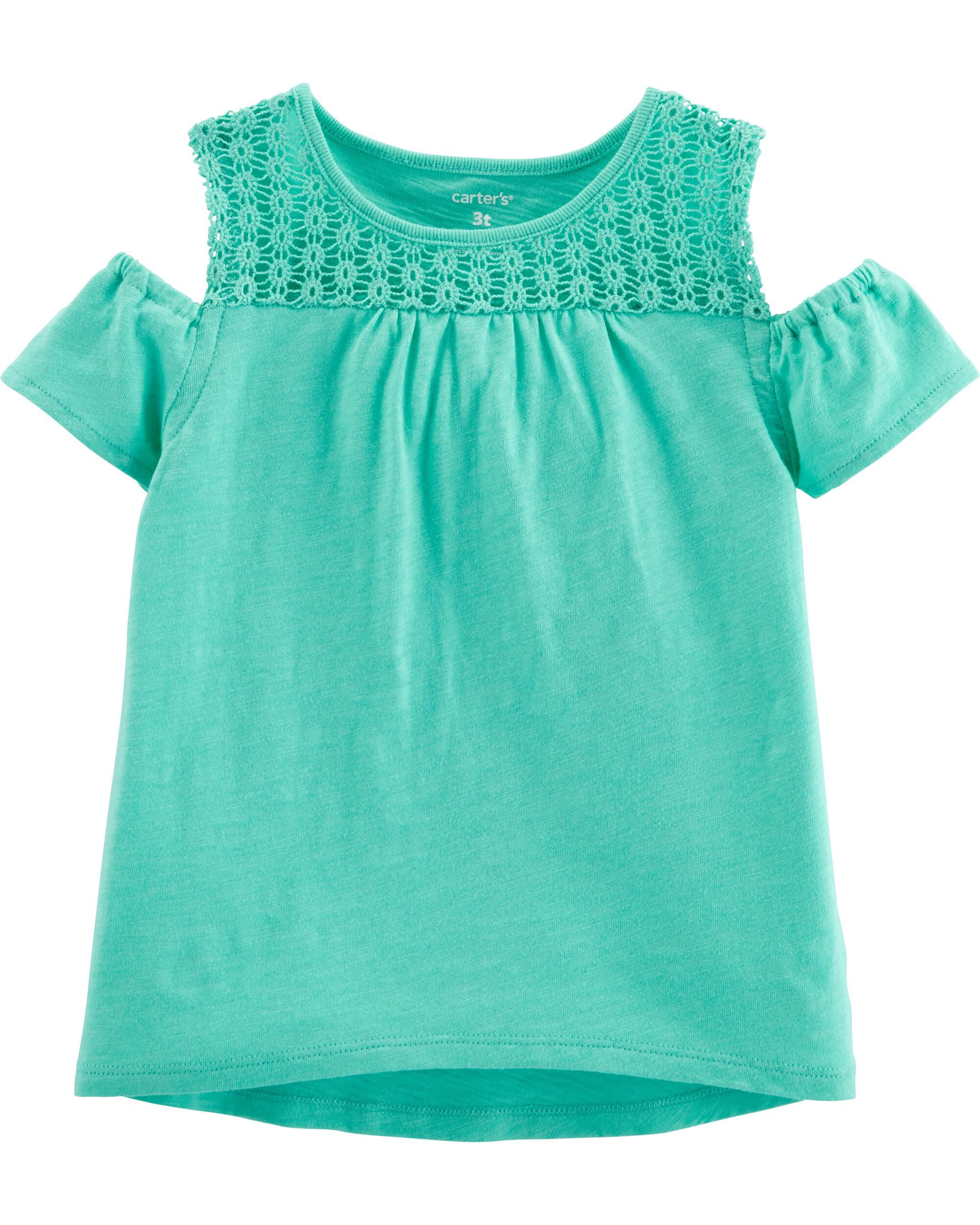 *Clearance*  Crocheted Cold Shoulder Slub Tee