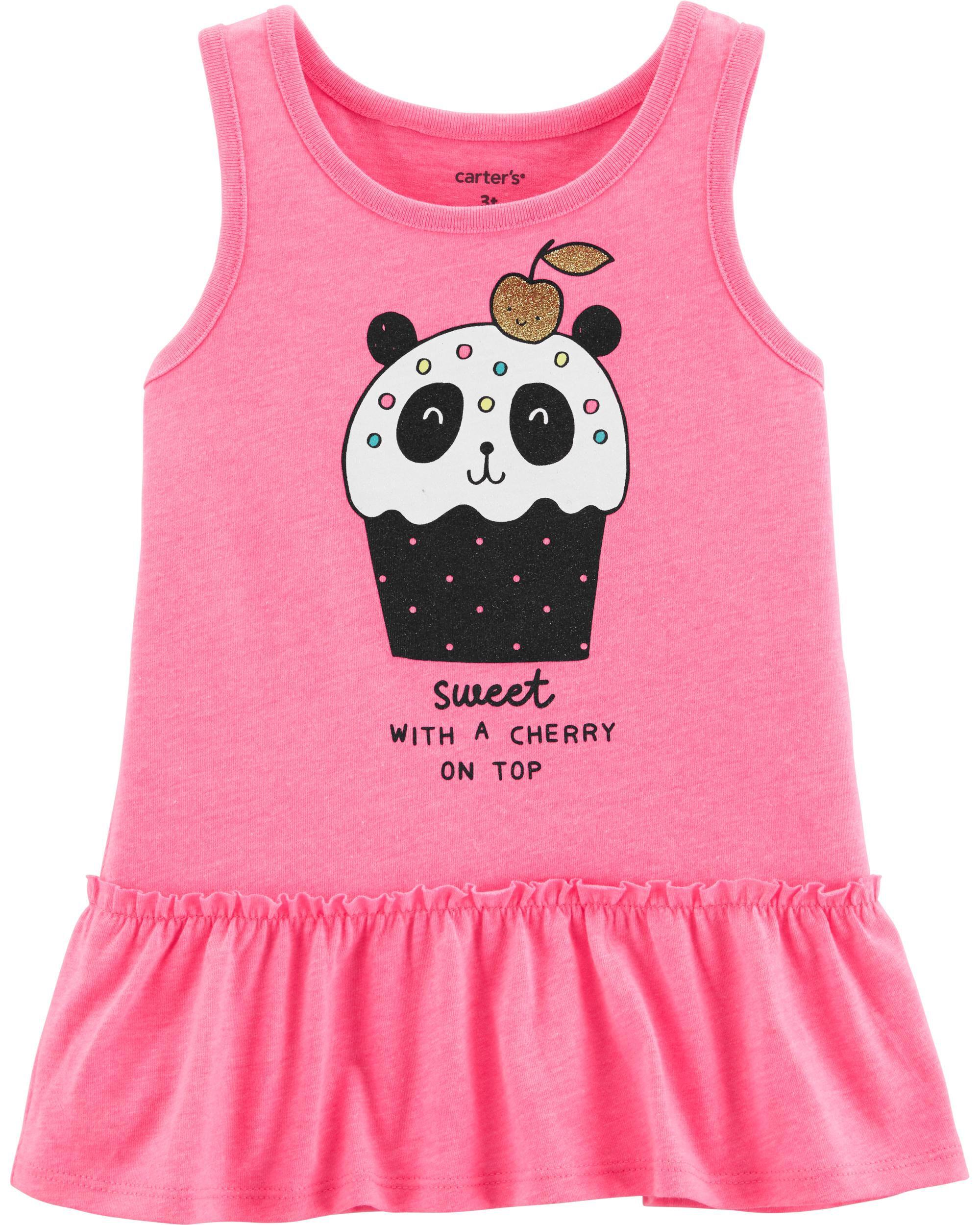 *Clearance*  Neon Panda Cupcake Ruffle Tank
