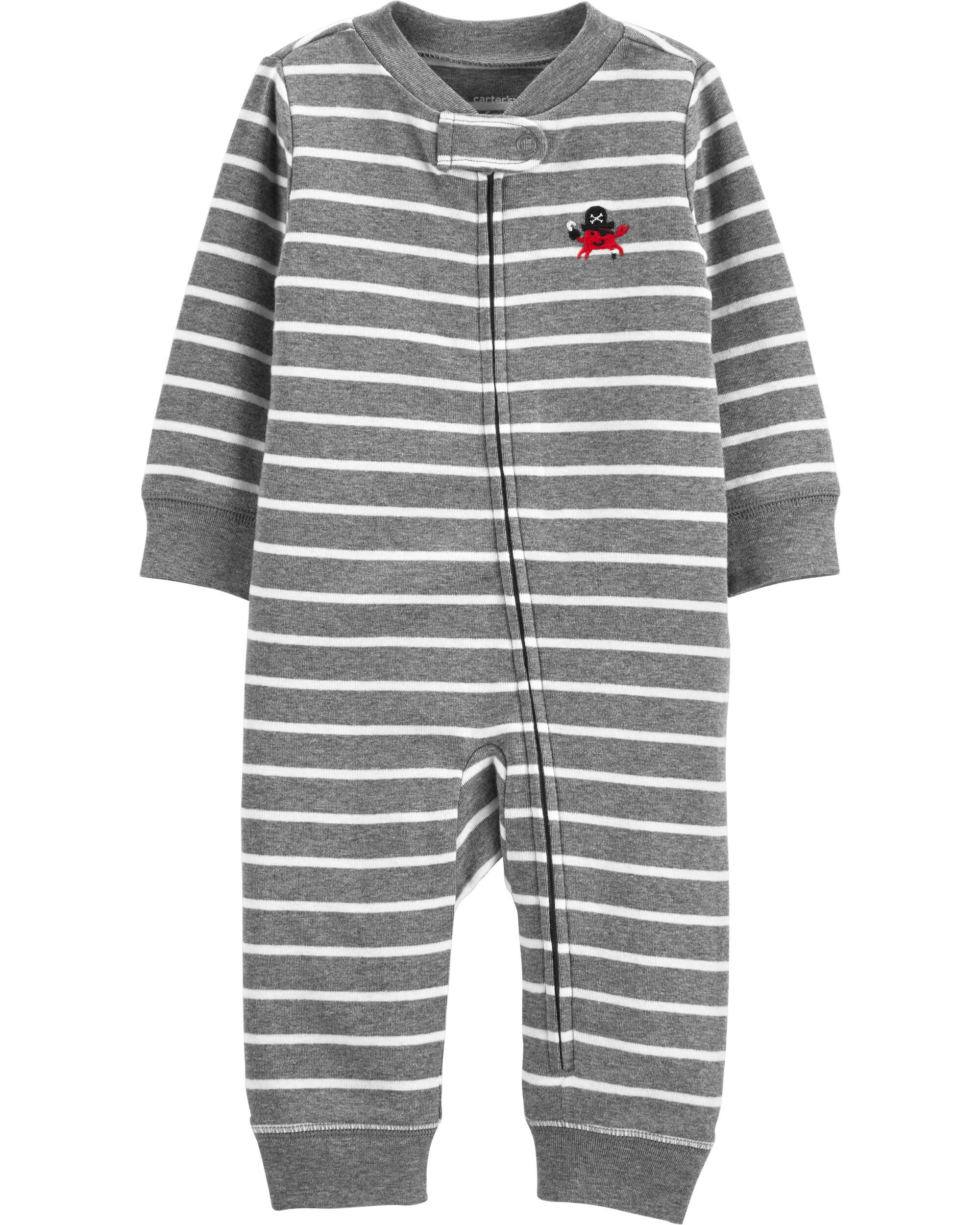 *Clearance*  Striped Zip-Up Cotton Footless Slee...