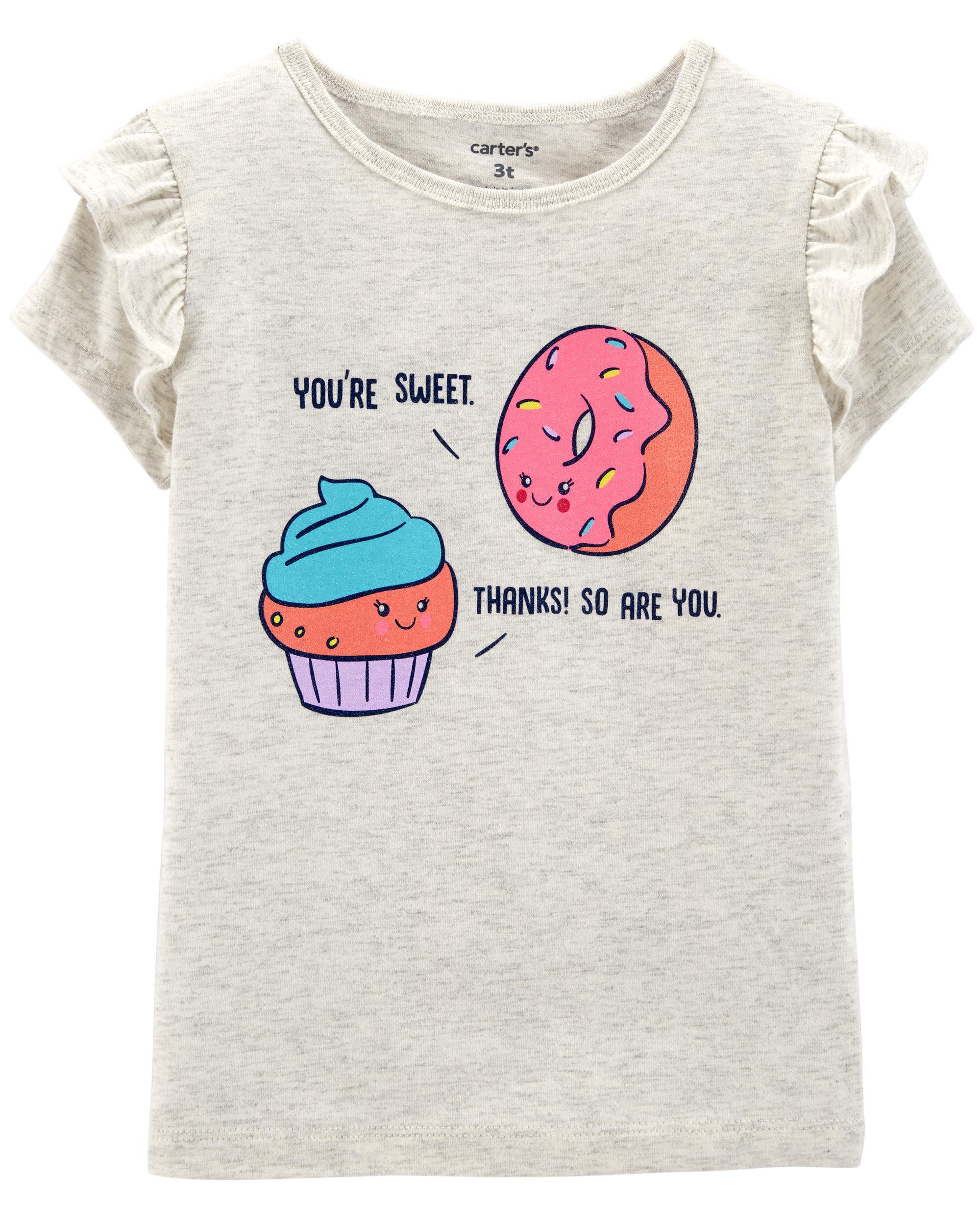 *Clearance*  Donut & Cupcake Flutter-Sleeve Tee