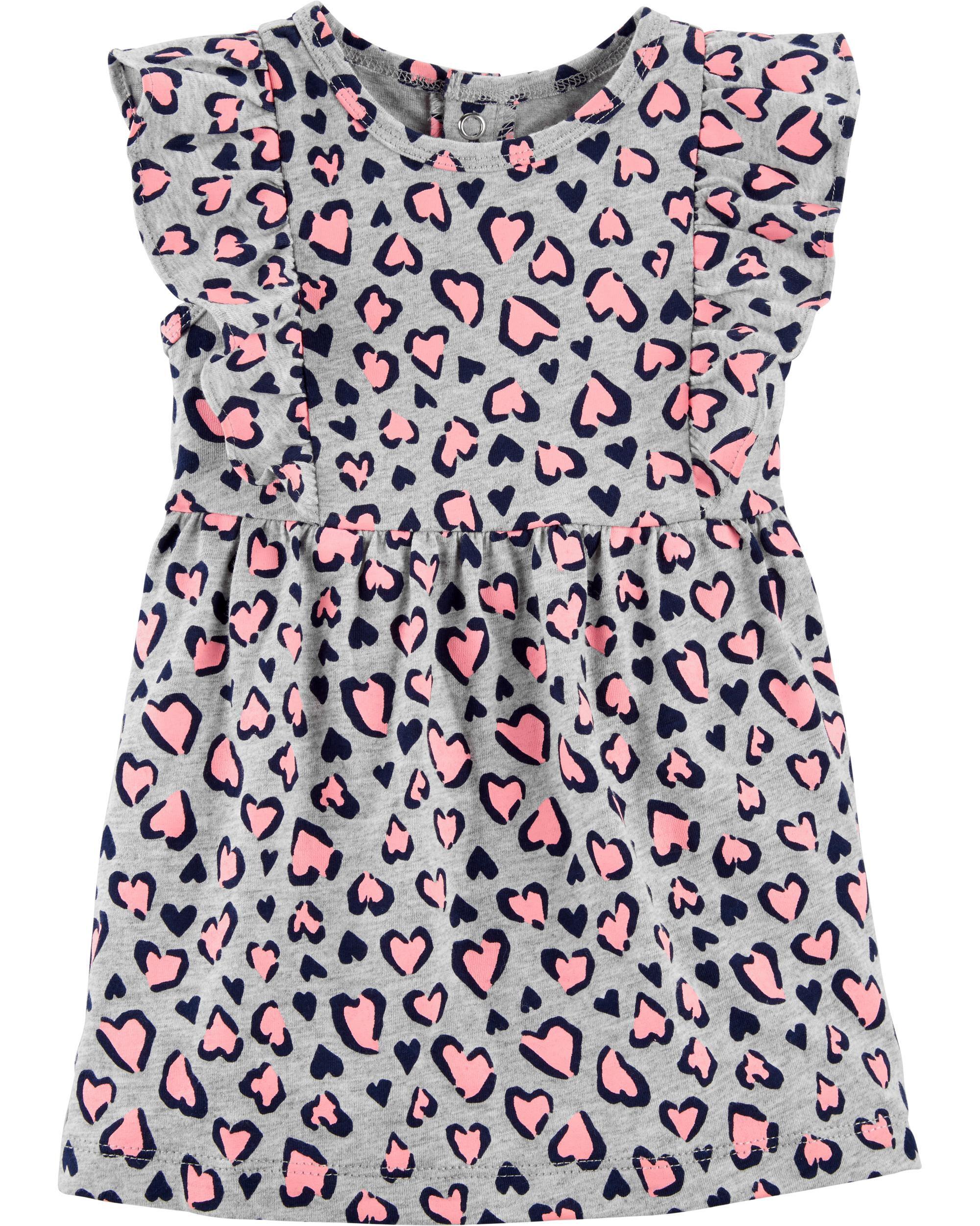 *Clearance*  Heart Leopard Jersey Dress