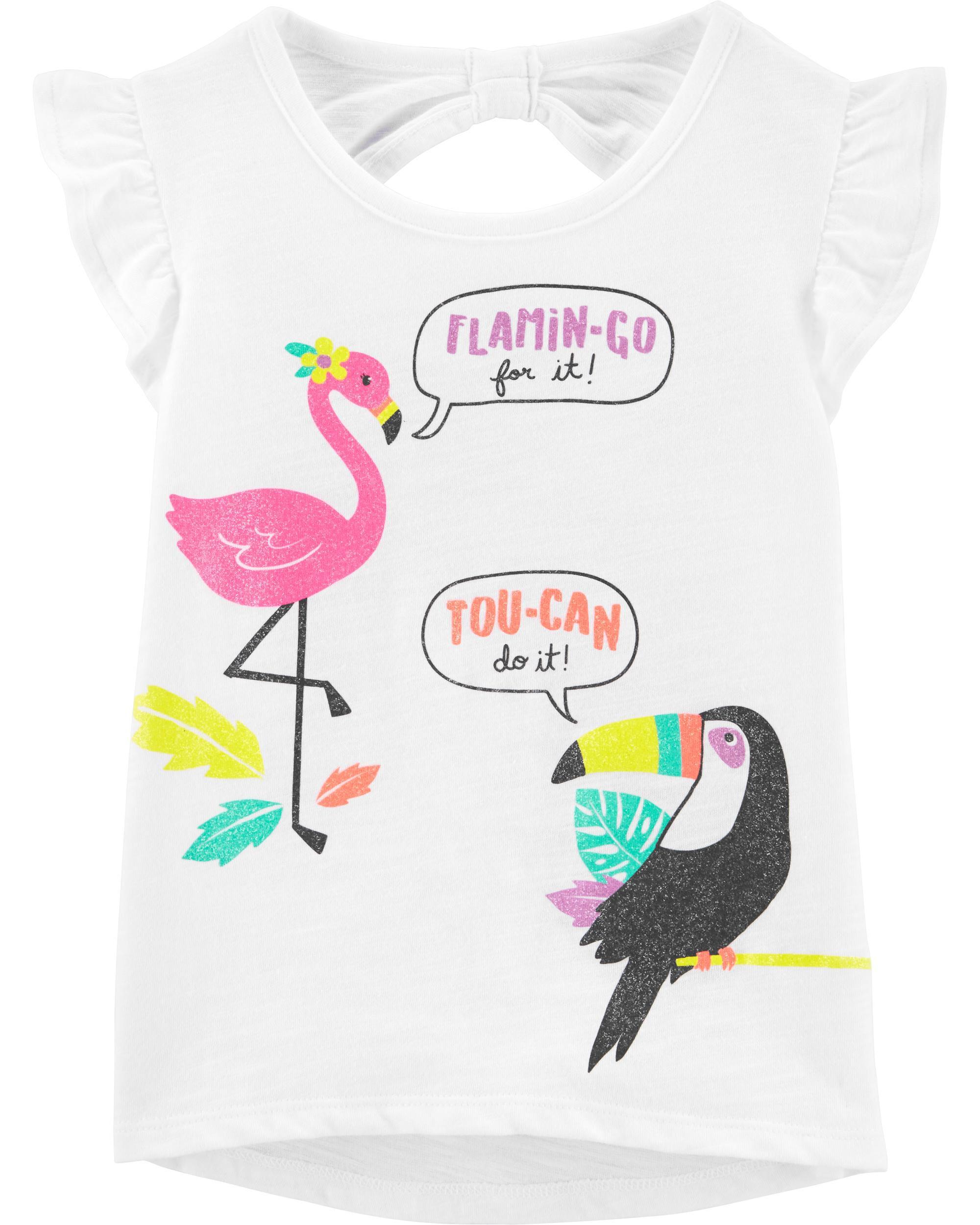 *Clearance*  Flamingo & Toucan Hi-Lo Slub Tee