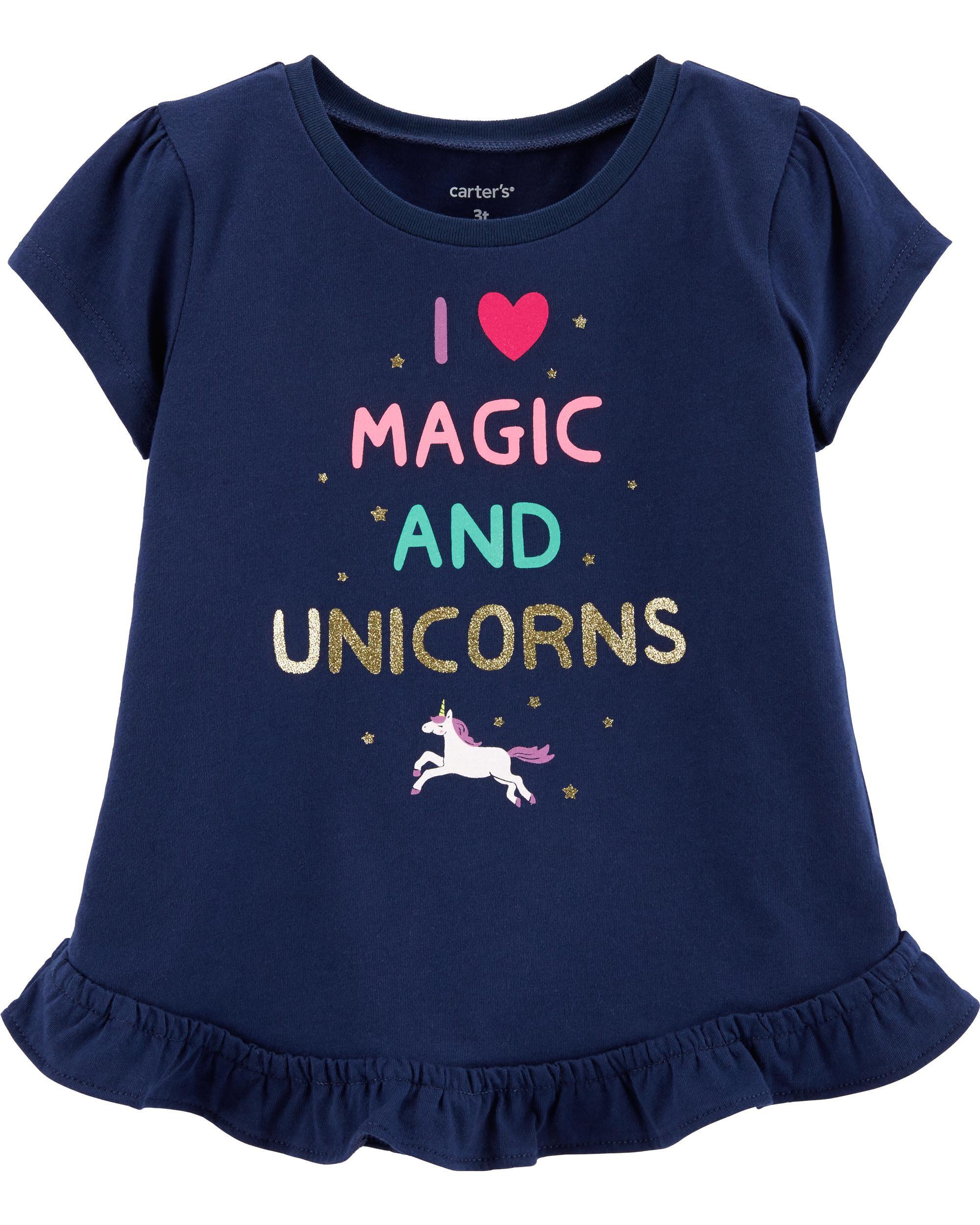 *Clearance*  Glitter Unicorn Peplum Top