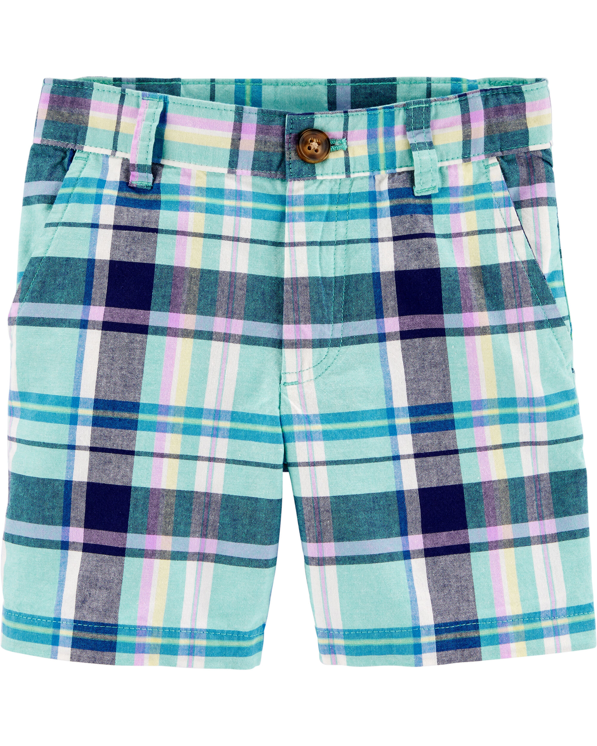 Plaid Flat-Front Shorts