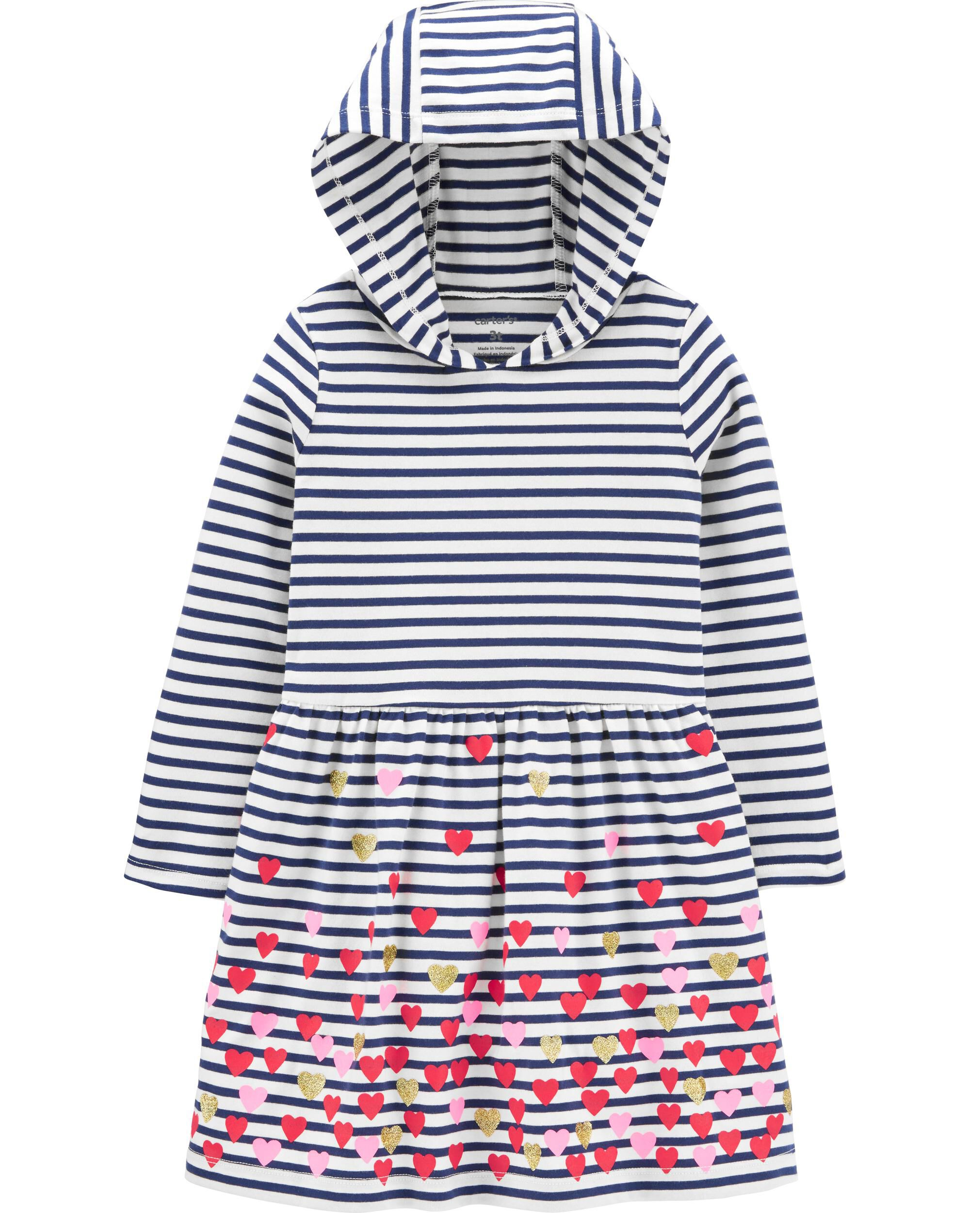 Heart Hooded Jersey Dress