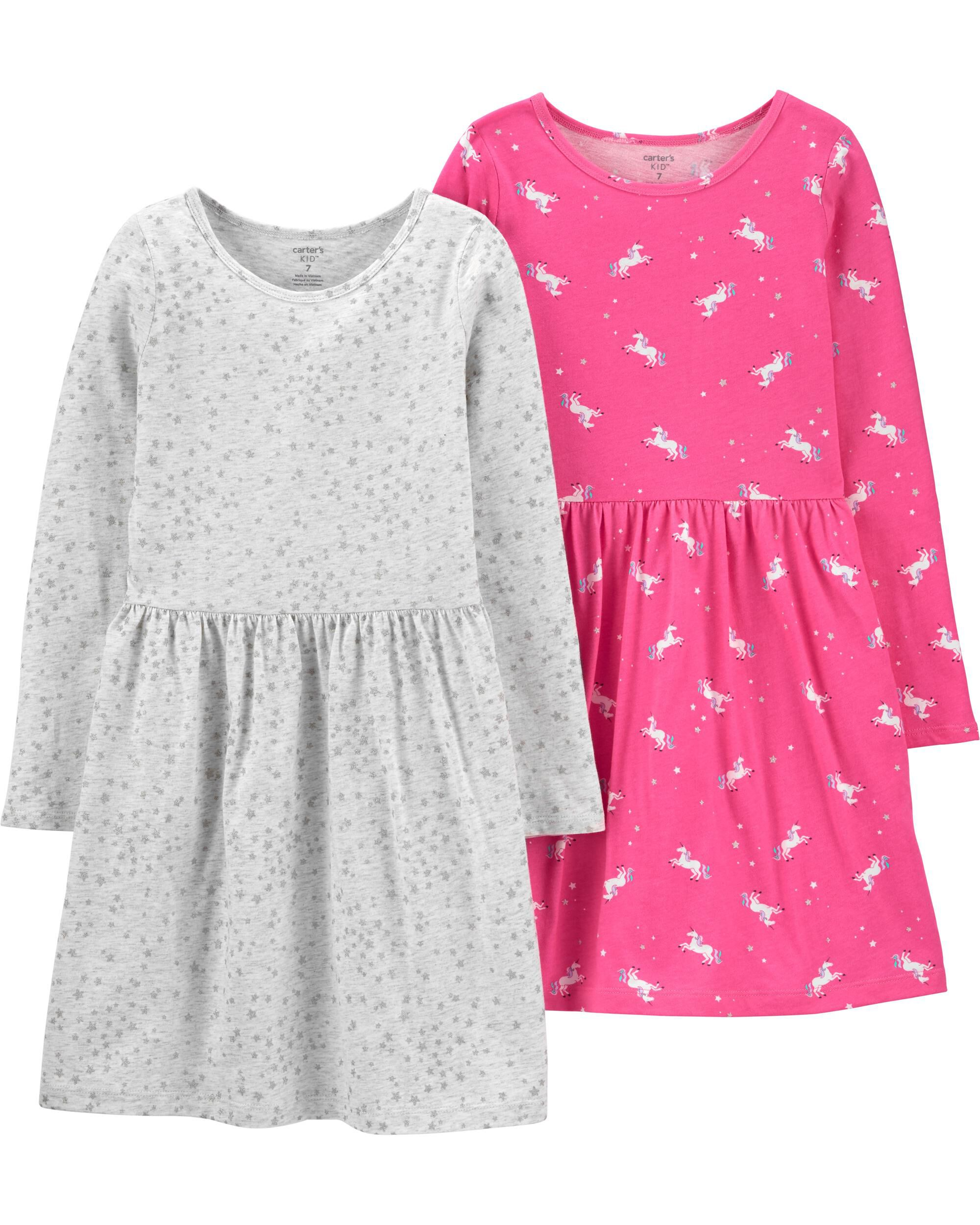 2-Pack Unicorns & Stars Jersey Dres...