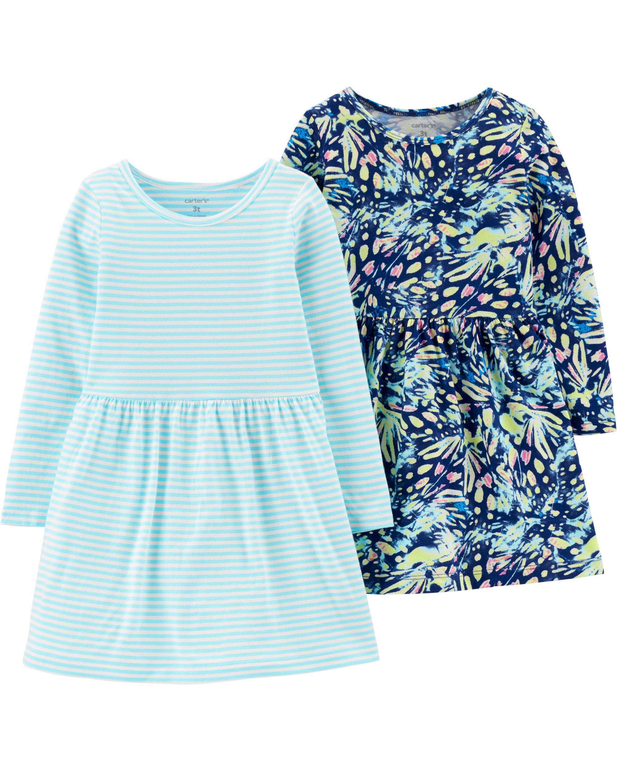 2-Pack Butterfly & Striped Jersey D...