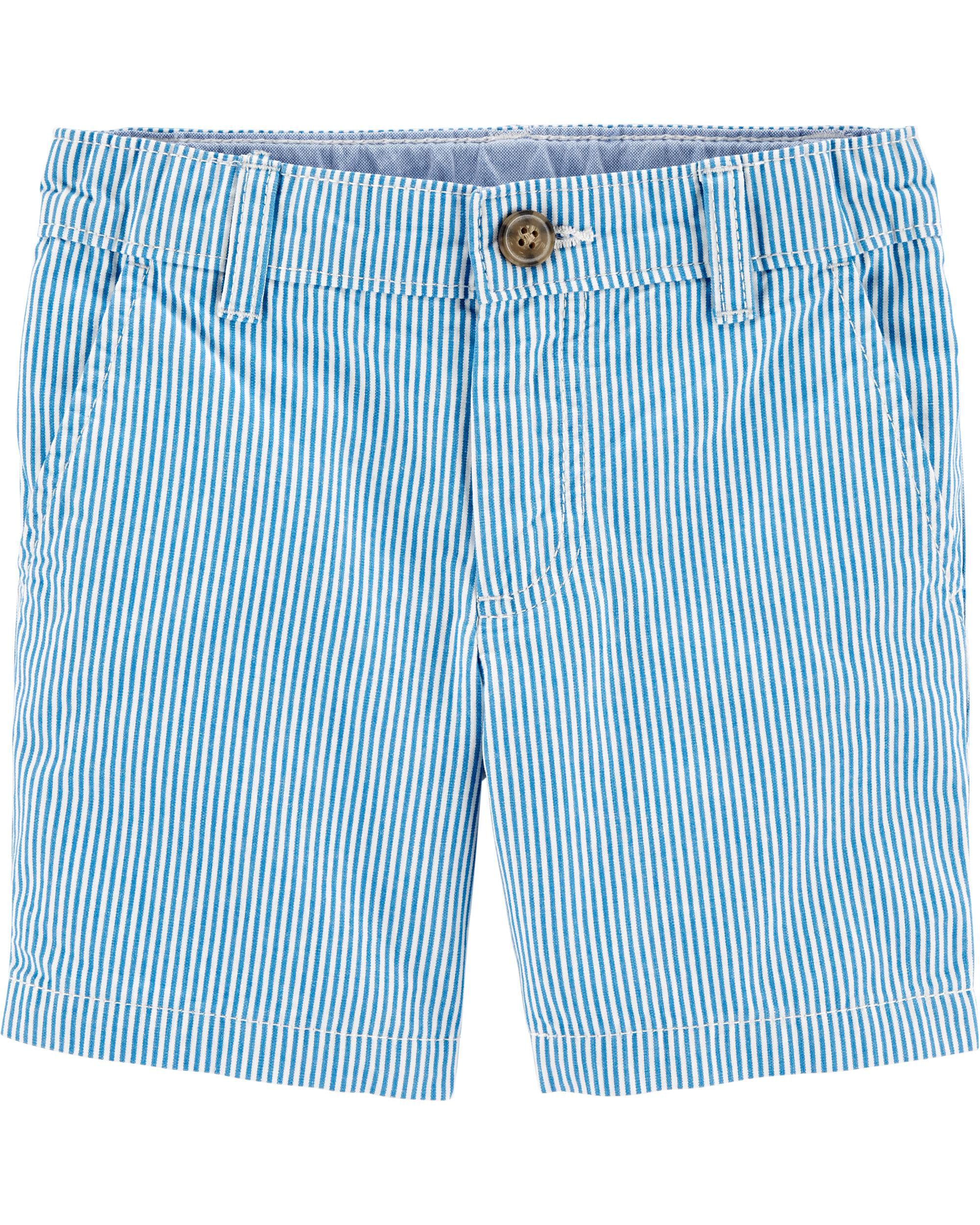 Striped Flat-Front Shorts