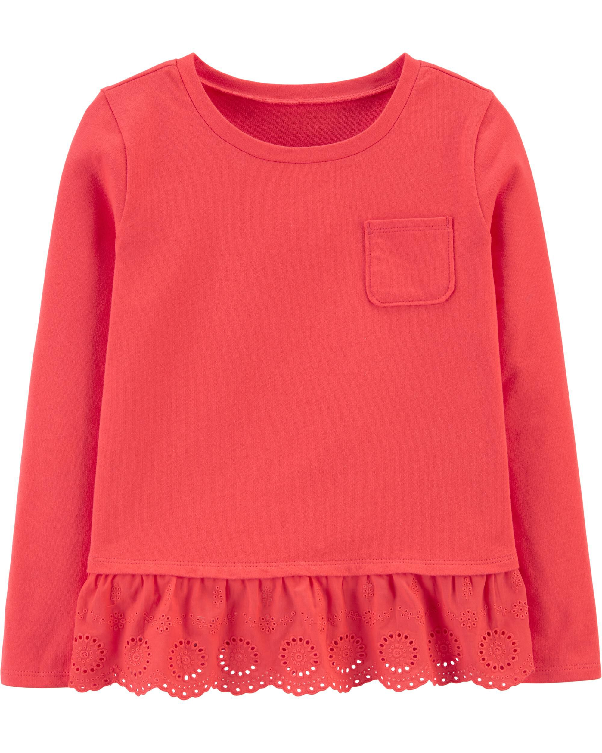 Eyelet Hem French Terry Top