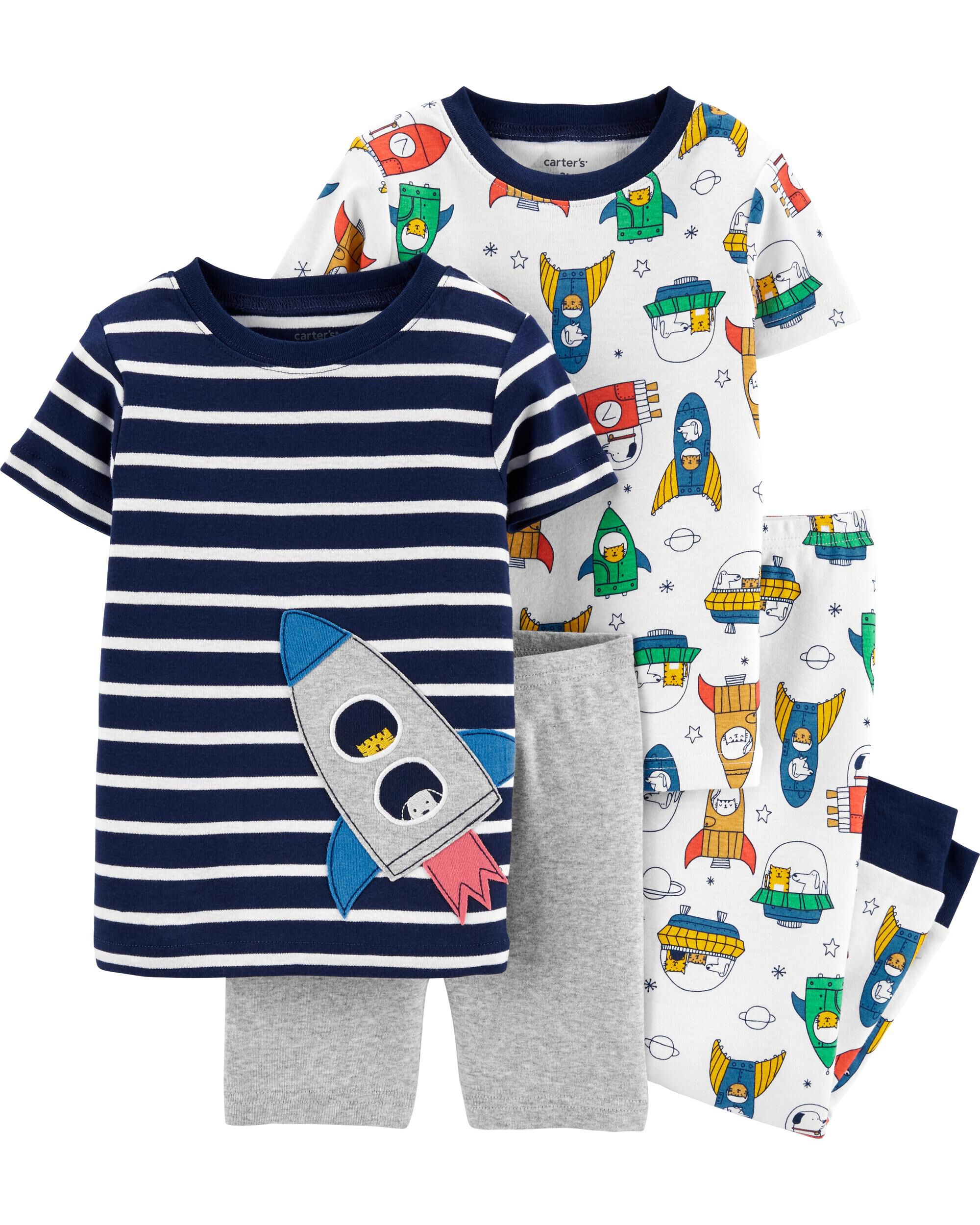 4-Piece Rocket Ship Snug Fit Cotton...