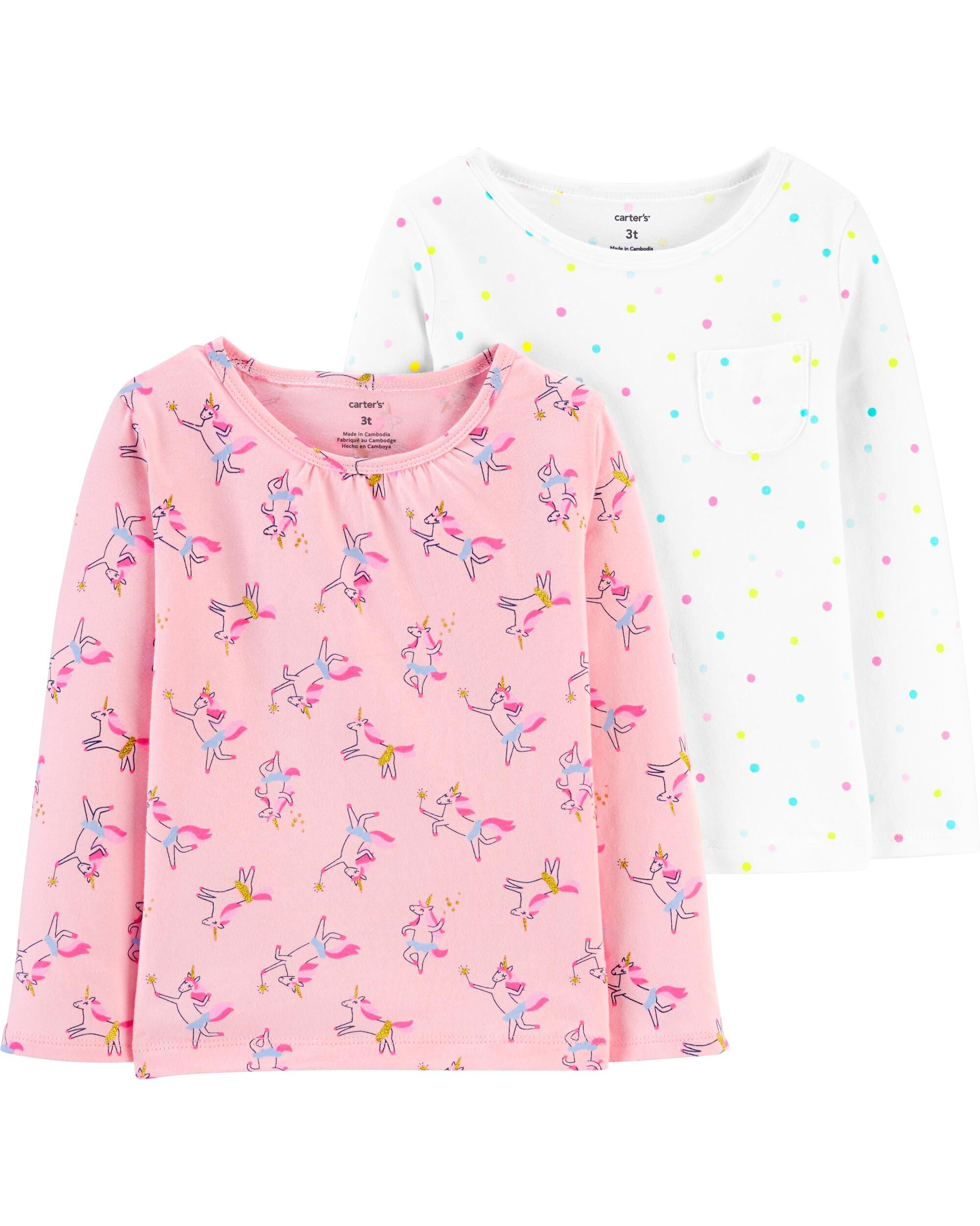 2-Pack Unicorn & Polka Dot Jersey T...