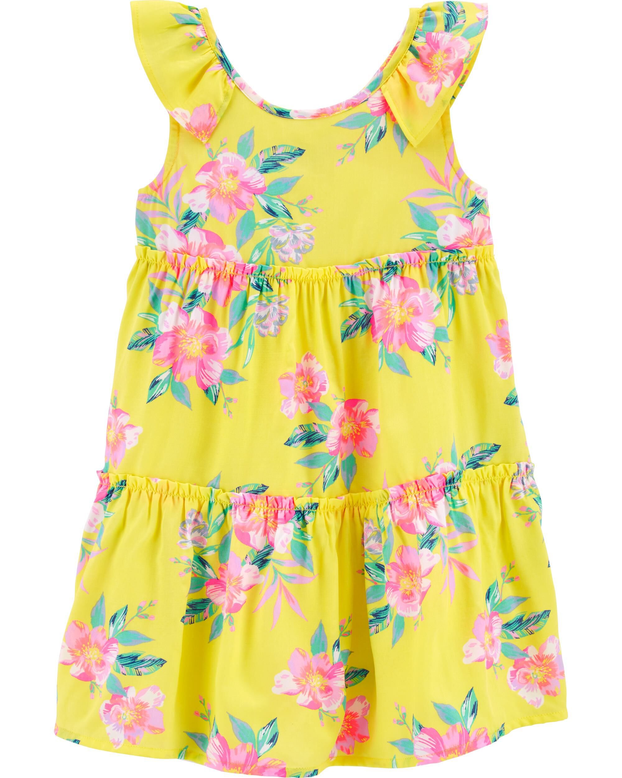 Tropical Floral Ruffle Dress