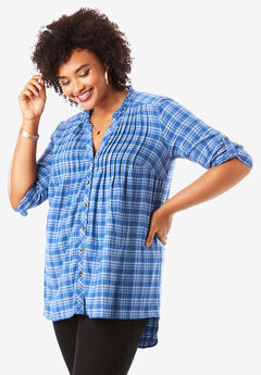 Flannel Pintuck Tunic,