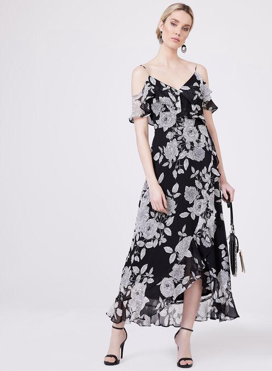 Maggy London - Floral Print Cold Shoulder Dress, Black, hi-res