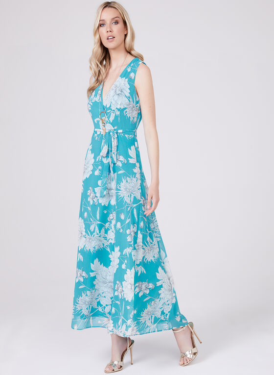 Sandra Darren – Sleeveless Floral Print Dress, Blue, hi-res