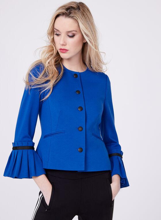 Butterfly Sleeve Ponte Blazer, Blue, hi-res